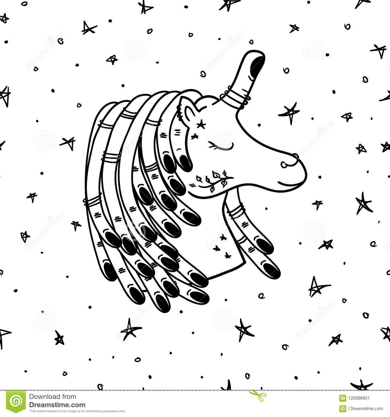 Tattoo Unicorn In Space Art Pattern Vector Stock Vector