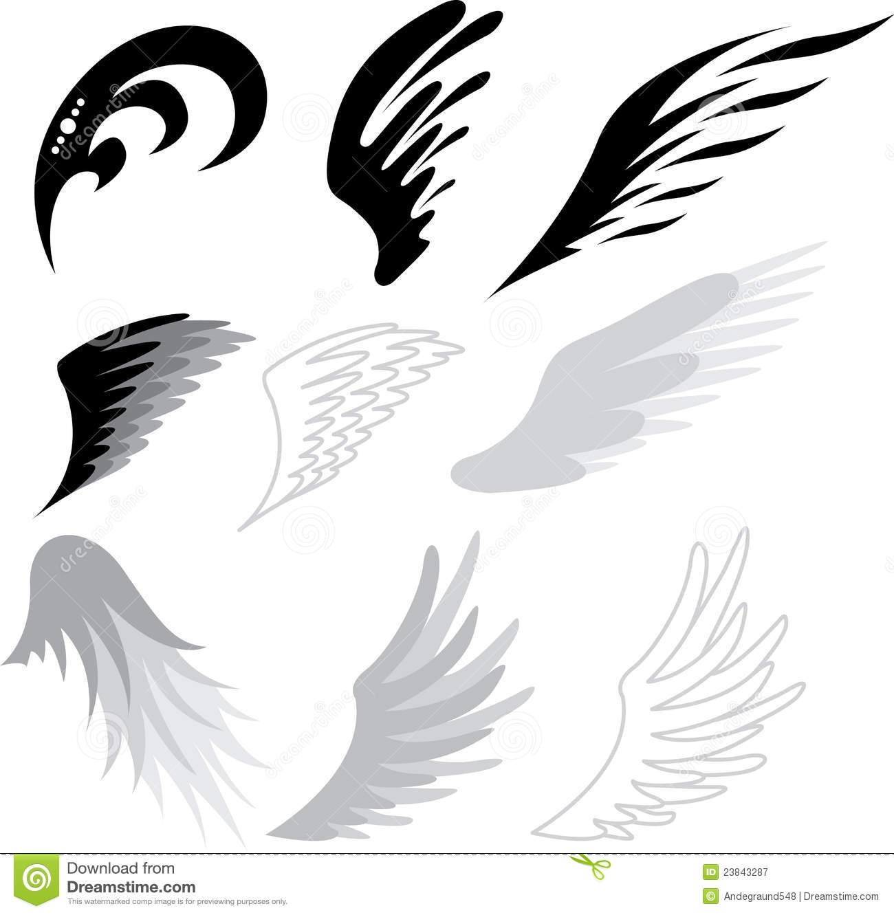 tattoo wings stock vector illustration of angel background 23843287. Black Bedroom Furniture Sets. Home Design Ideas