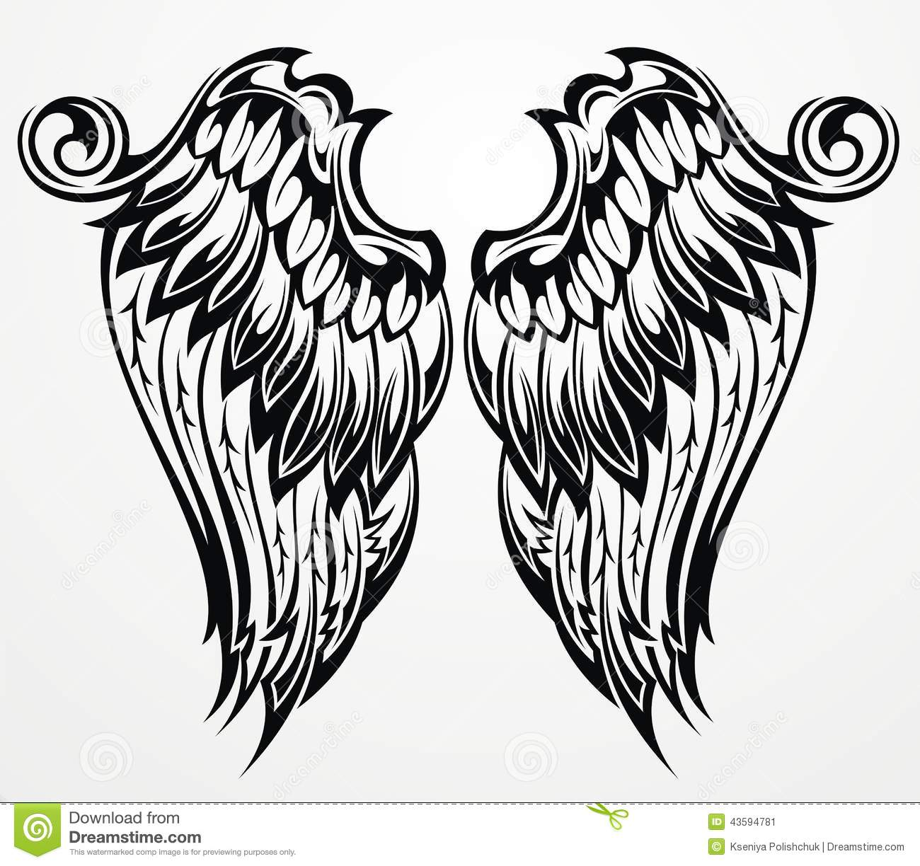 White Angel Wings Tattoos: Tattoo Wings Stock Vector