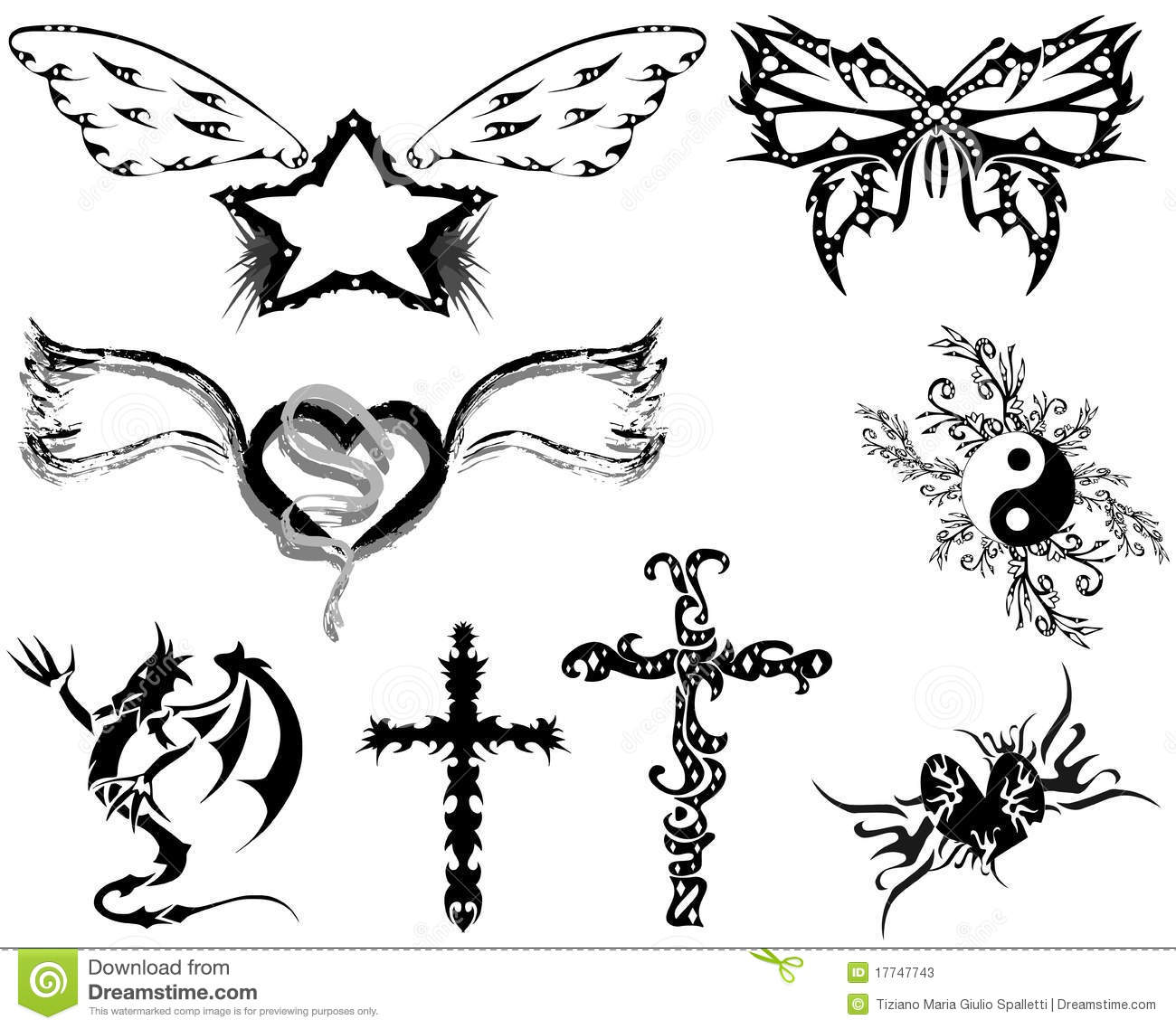 set of Tattoos with different subjects