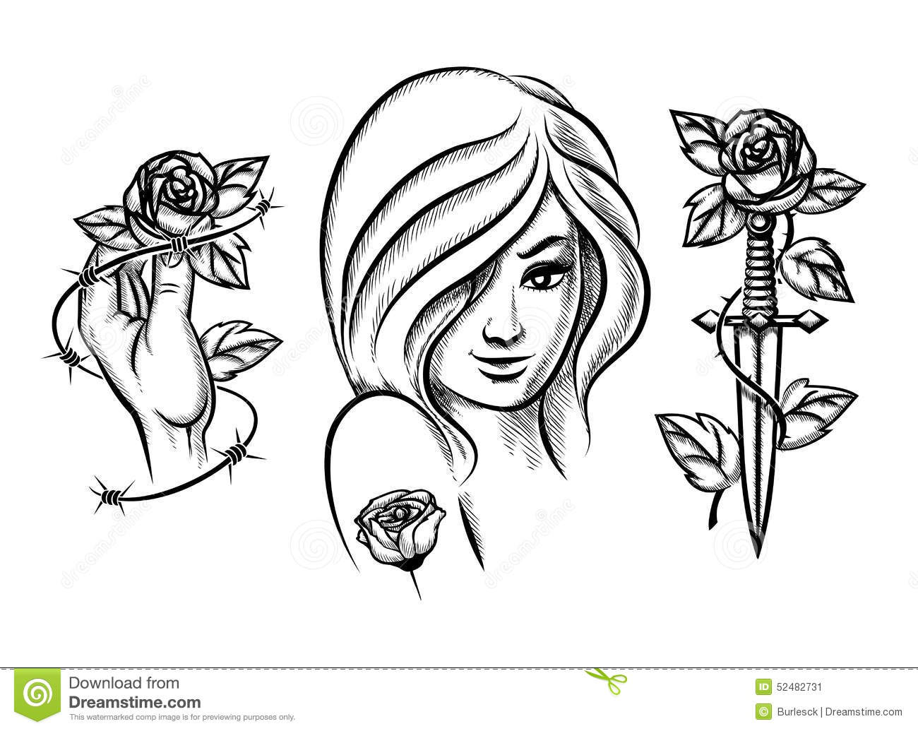 Barbed Wire Rose Tattoo: Tattoos. Beauty Girl, Knife, Rose And Barbed Wire Stock