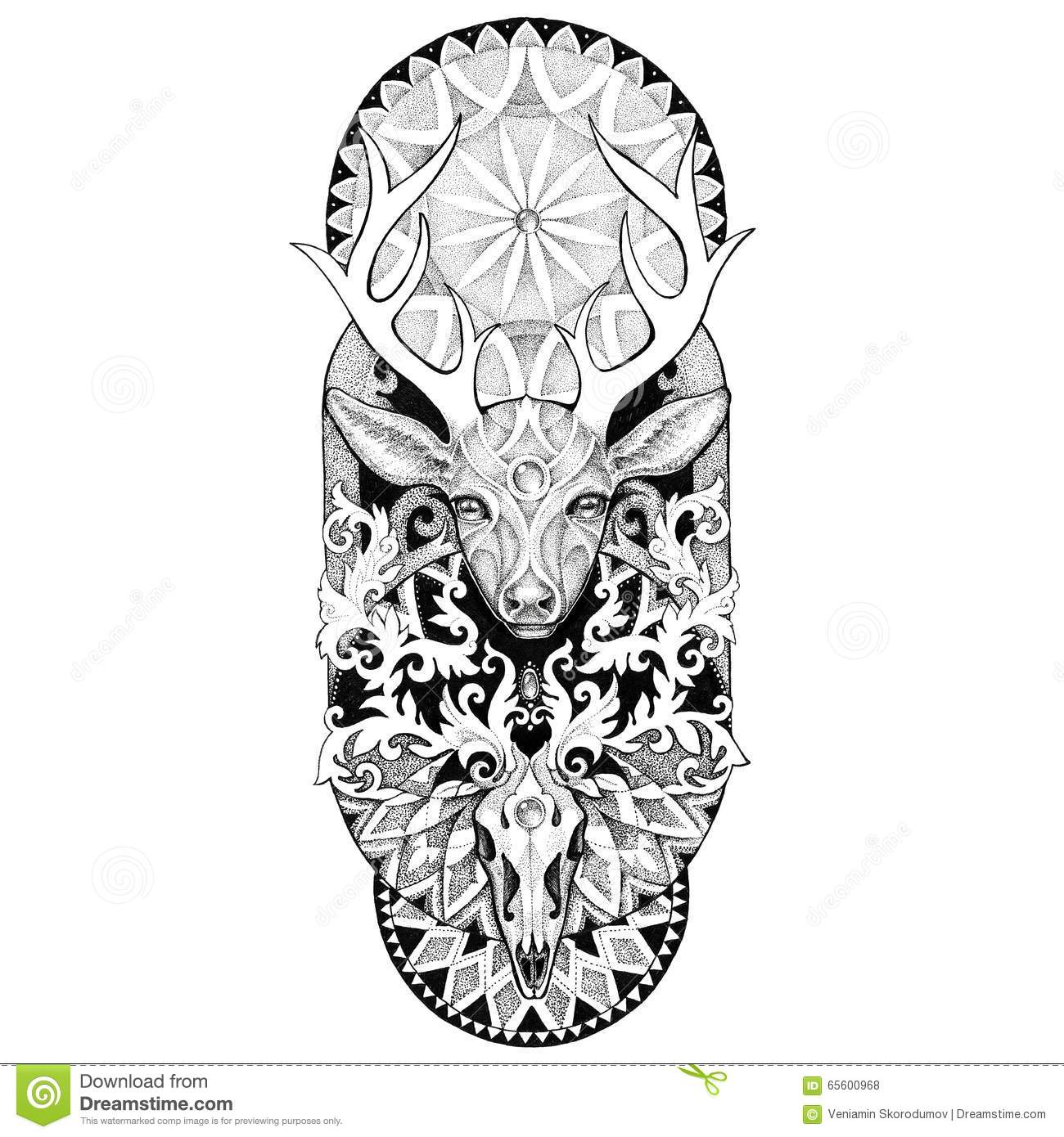 Tattoos Deer Head With A Mandala Stock Illustration