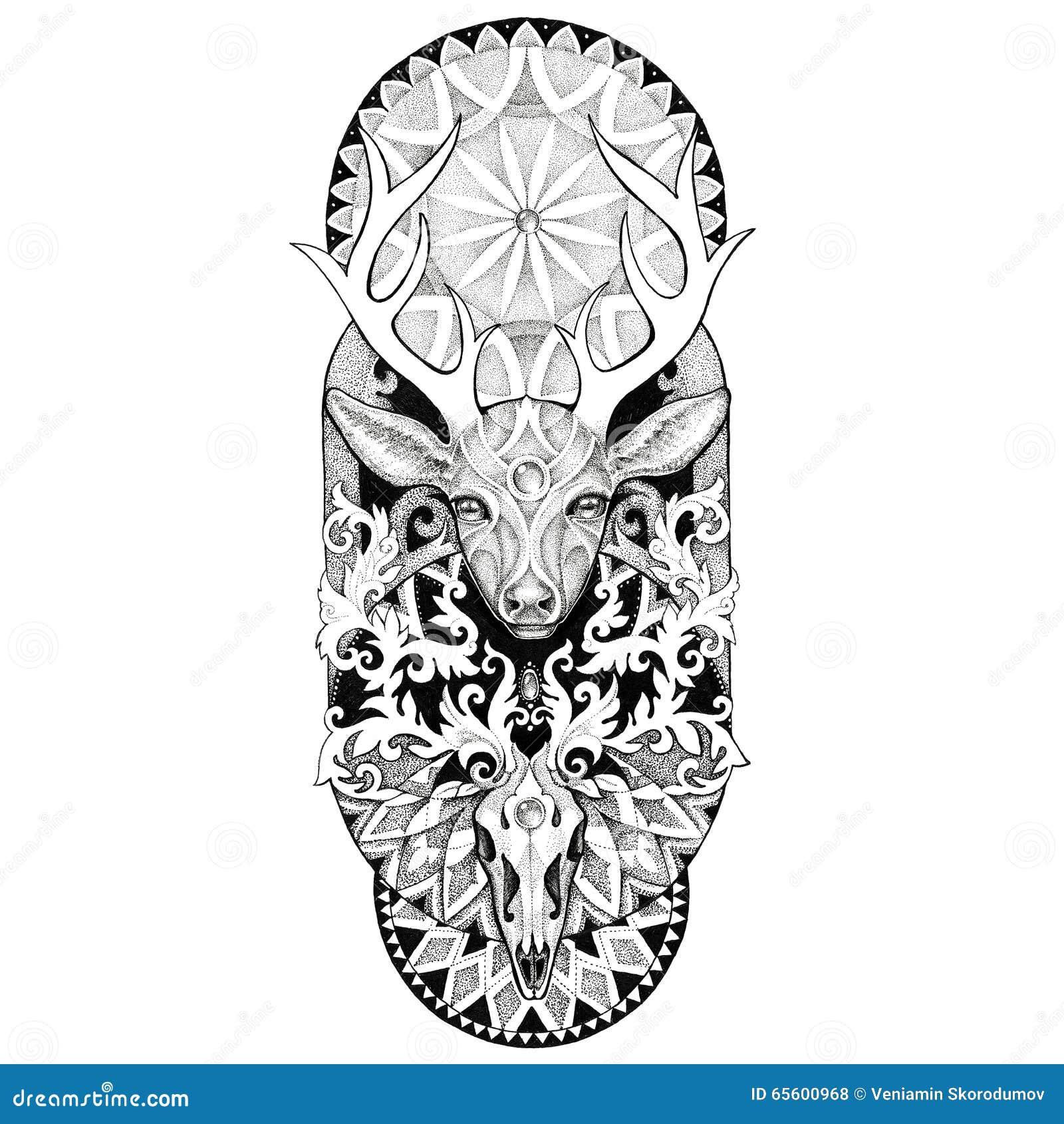 Tattoos Deer Head Mandala Illustration