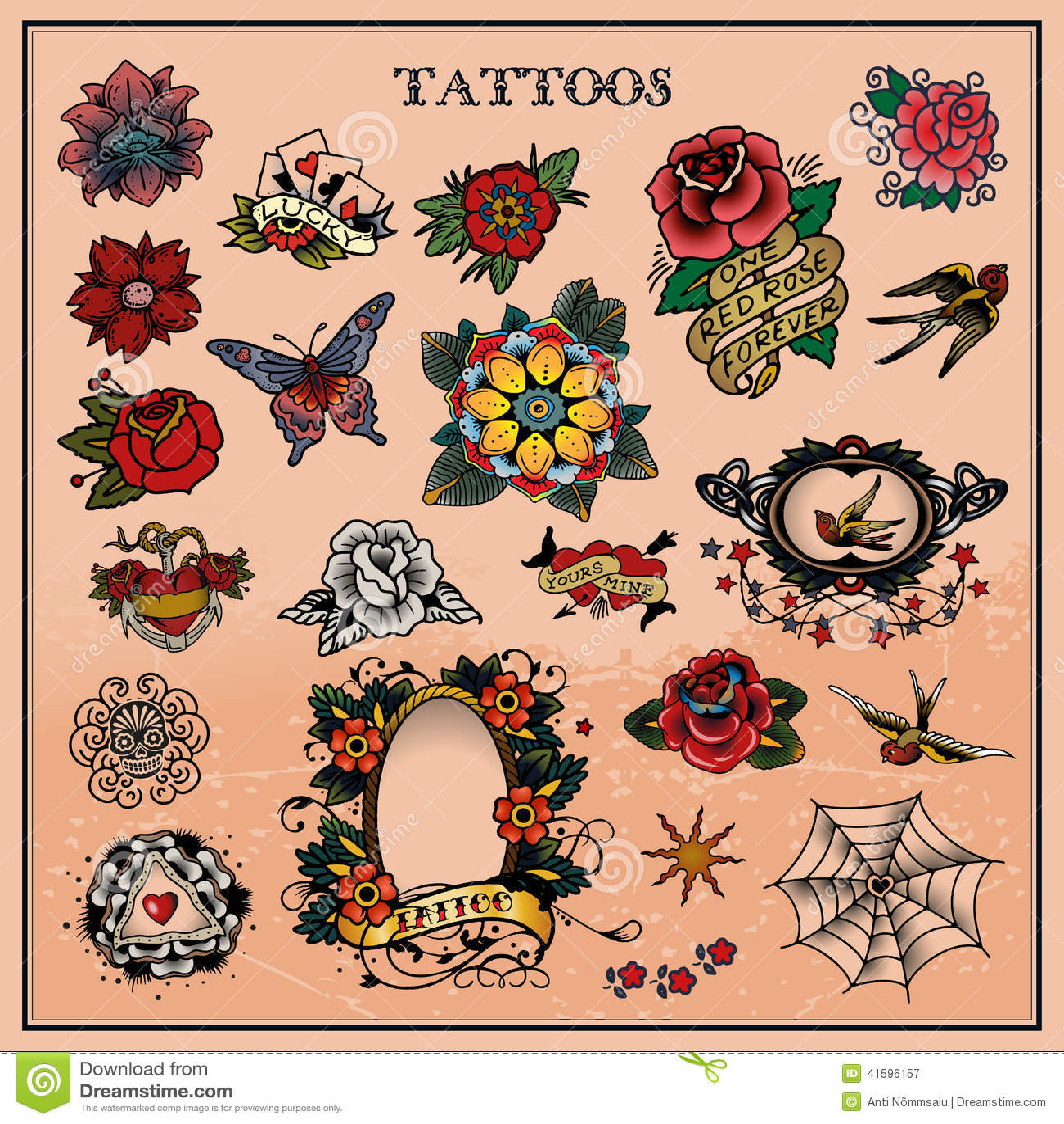 Fiori Old School.Tattoos Floral Flower Illustration 41596157 Megapixl
