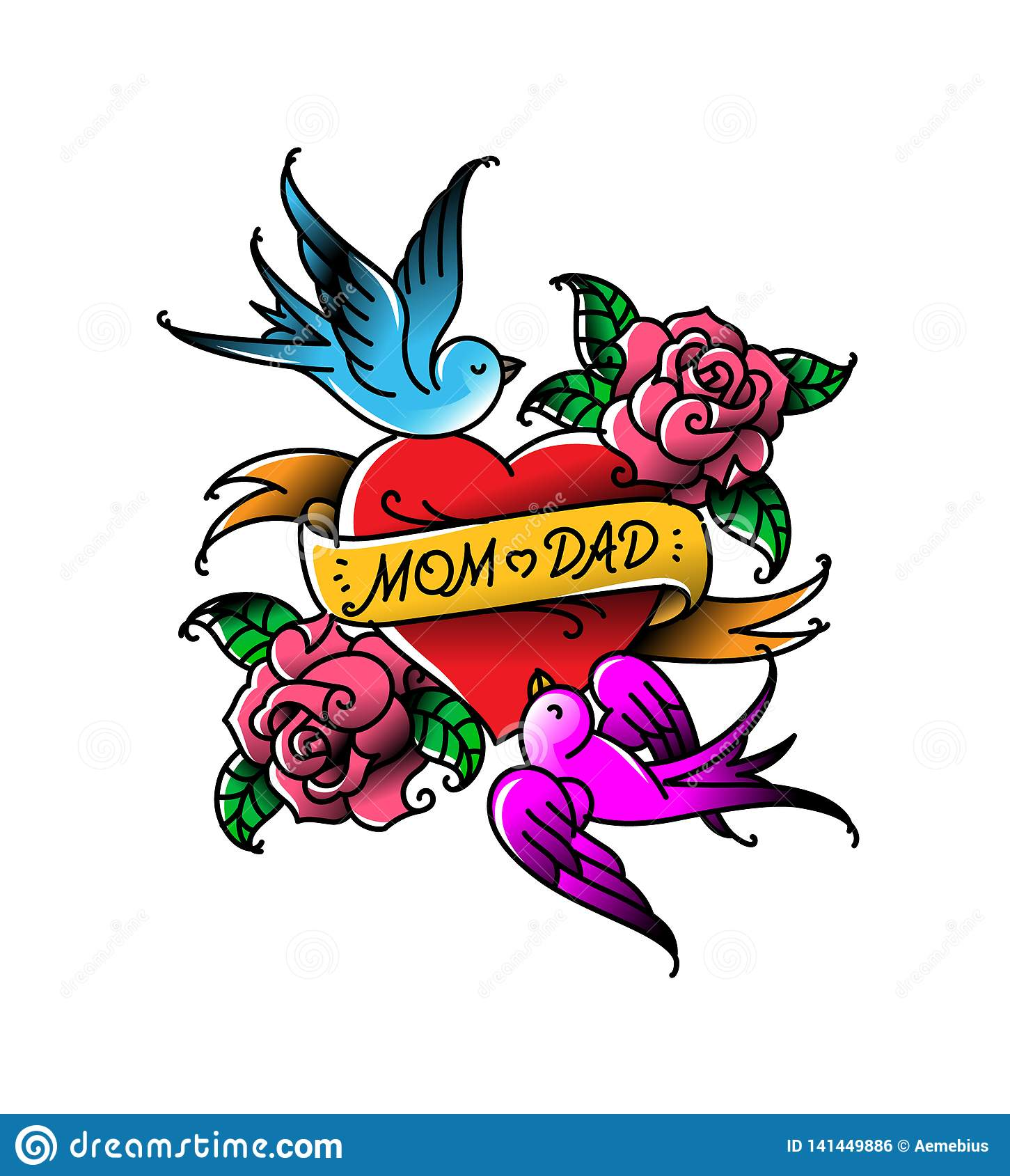 Tattoos with the inscription of Mom and Dad. Two hearts with a flower and a bird. Vector flat tattoo. Congratulation for parents
