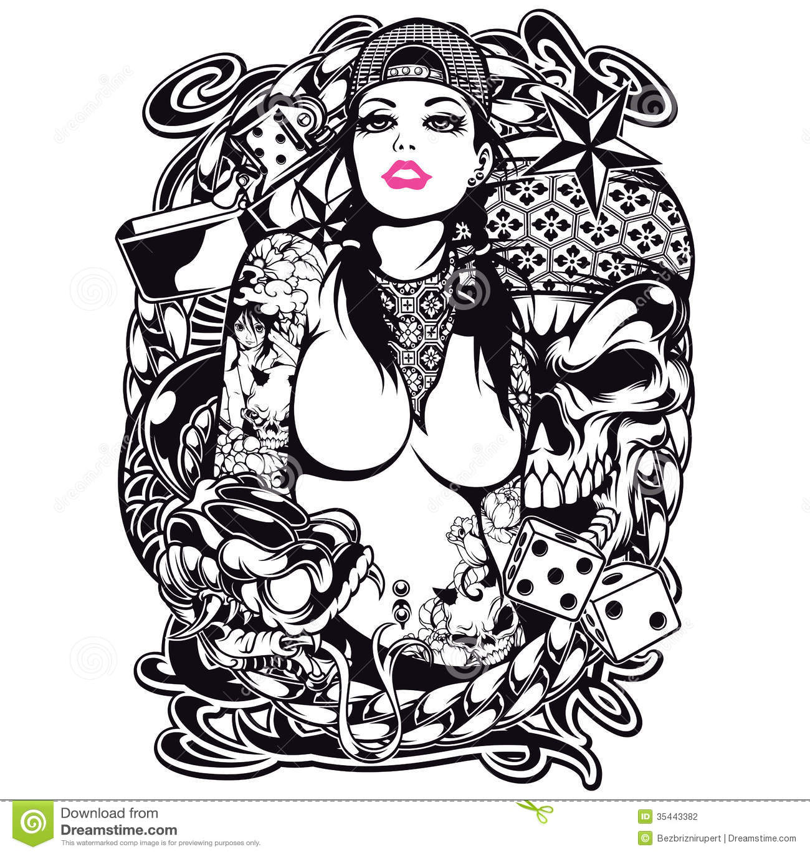 Tatuaż dziewczyny Koszulowy projekt