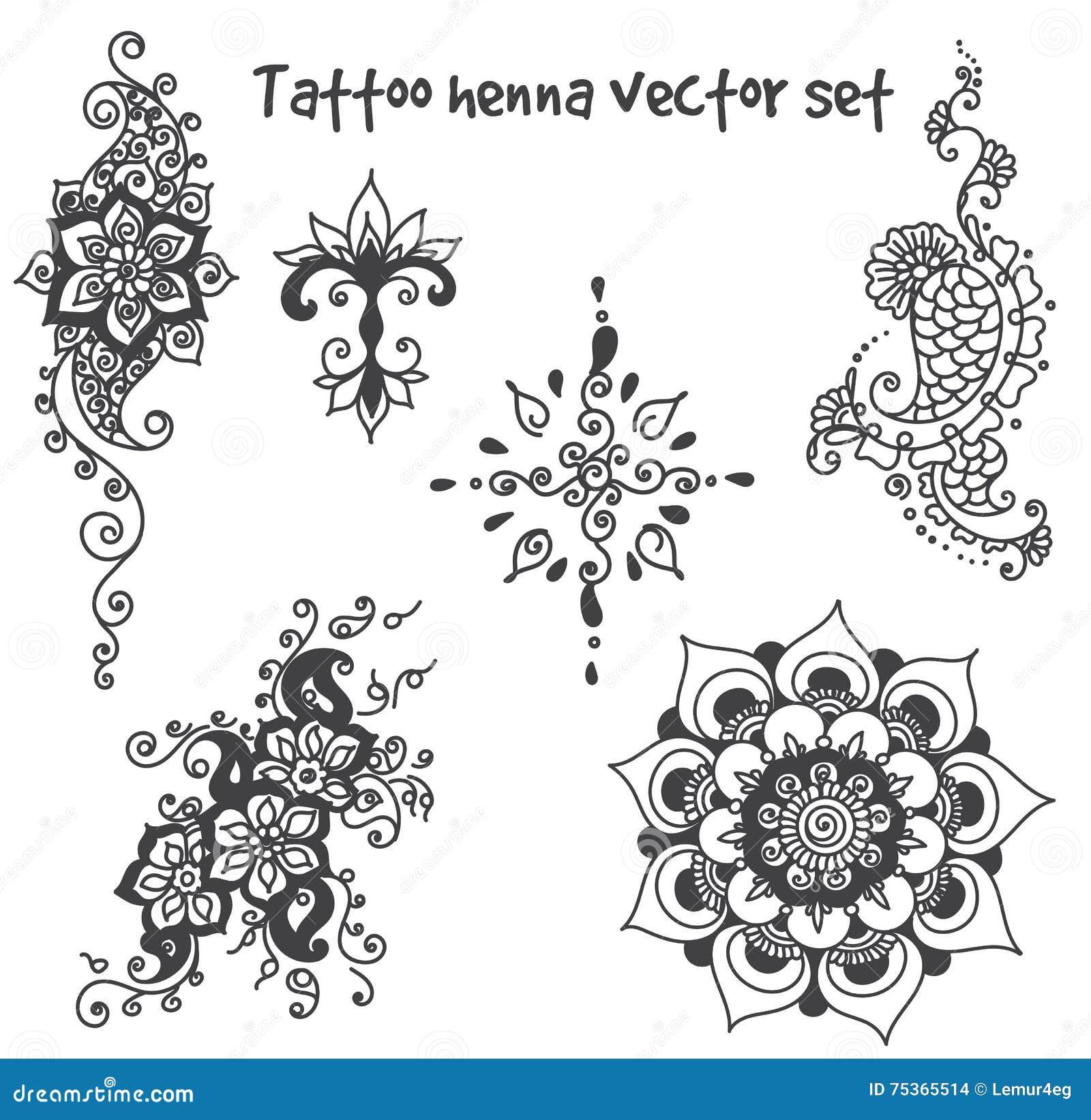 Tatuaż Henny Elementu Set Ilustracja Wektor Ilustracja