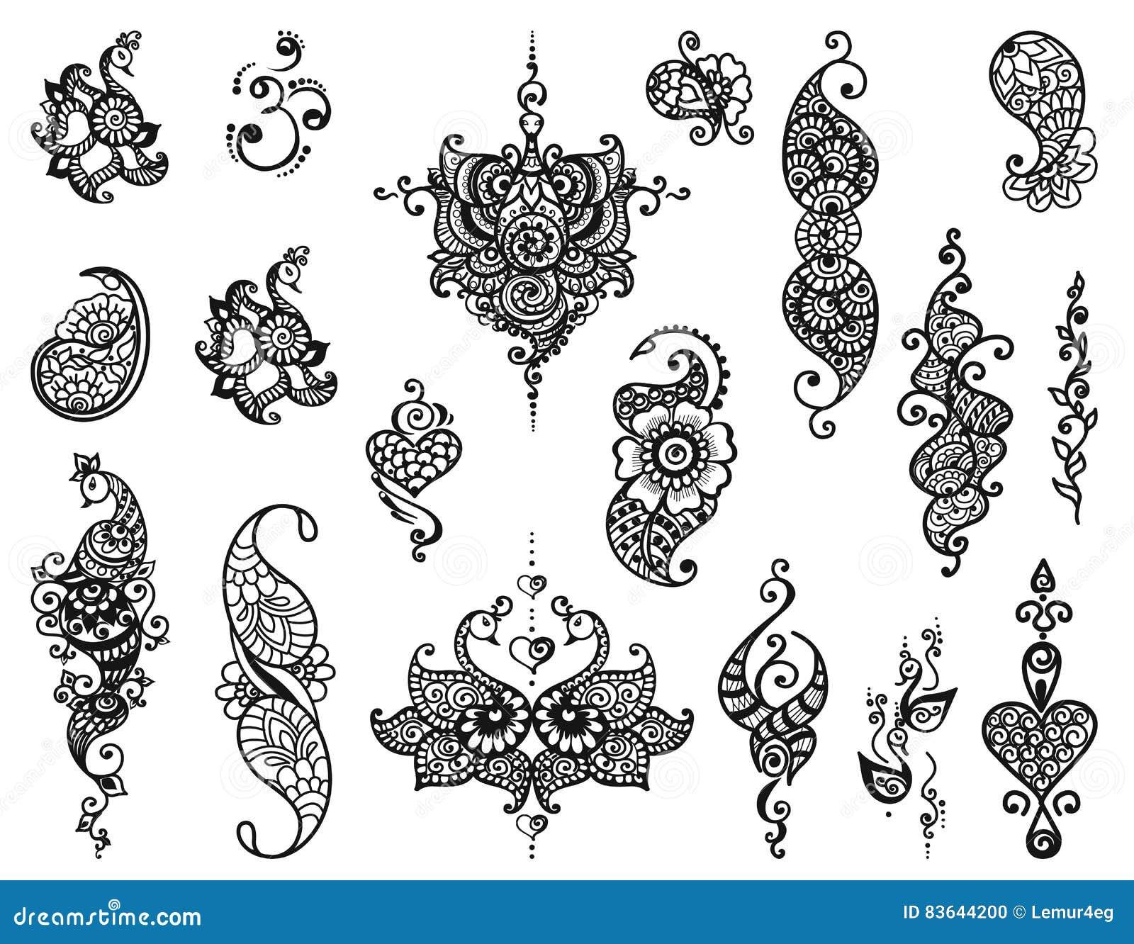 Tatuaż Henny Mandala Ustawiający Ilustracja Wektor Ilustracja