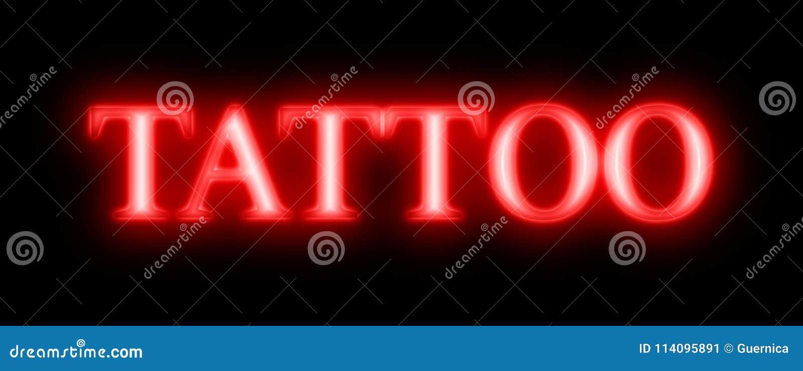 Tatuażu Czerwony Neonowy Znak Ilustracji Ilustracja