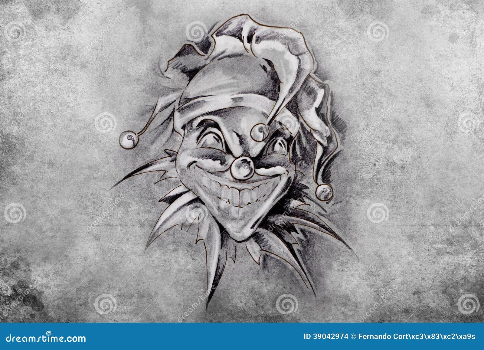 Tatuazu Joker Ilustracja Handmade Ilustracji Ilustracja Zlozonej