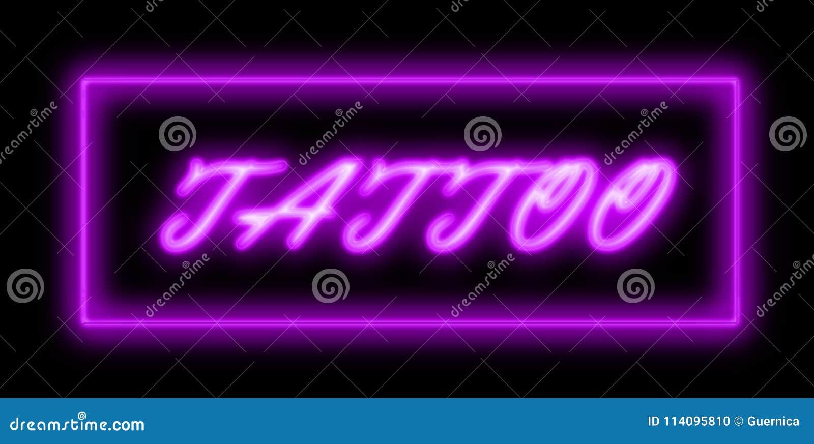 Tatuażu Sklepowy Błękitny Neonowy Znak Ilustracji