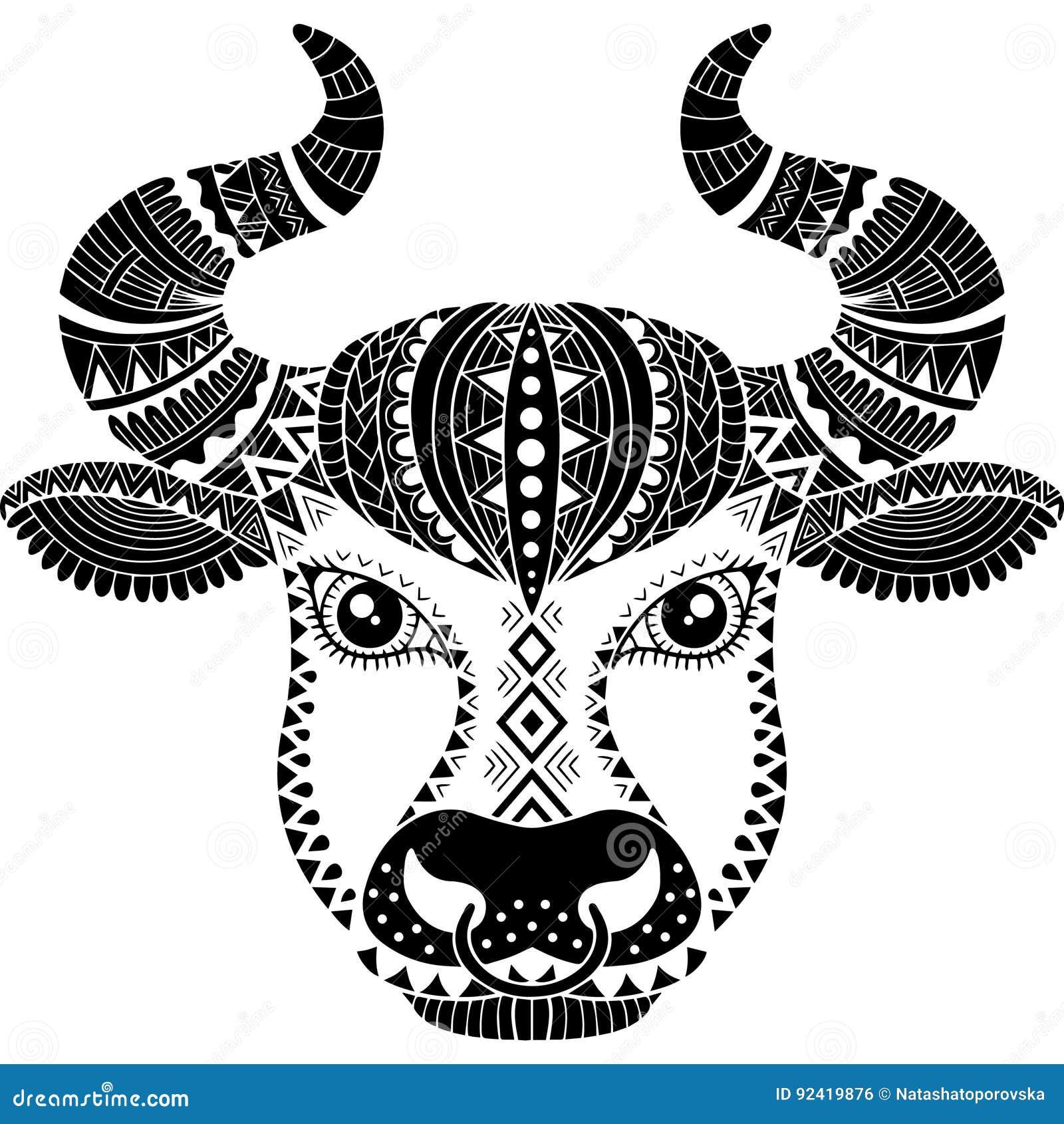 Tatuażu Styl Sylwetka Odizolowywająca Na Białym Tle Byk