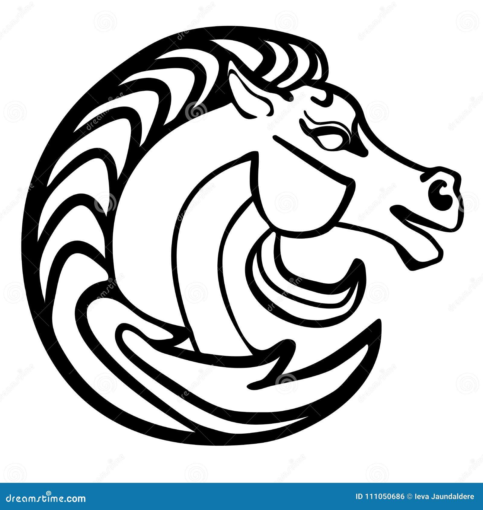 Tatuagem do logotipo da cabeça de cavalo da ilustração do vetor preto e branco