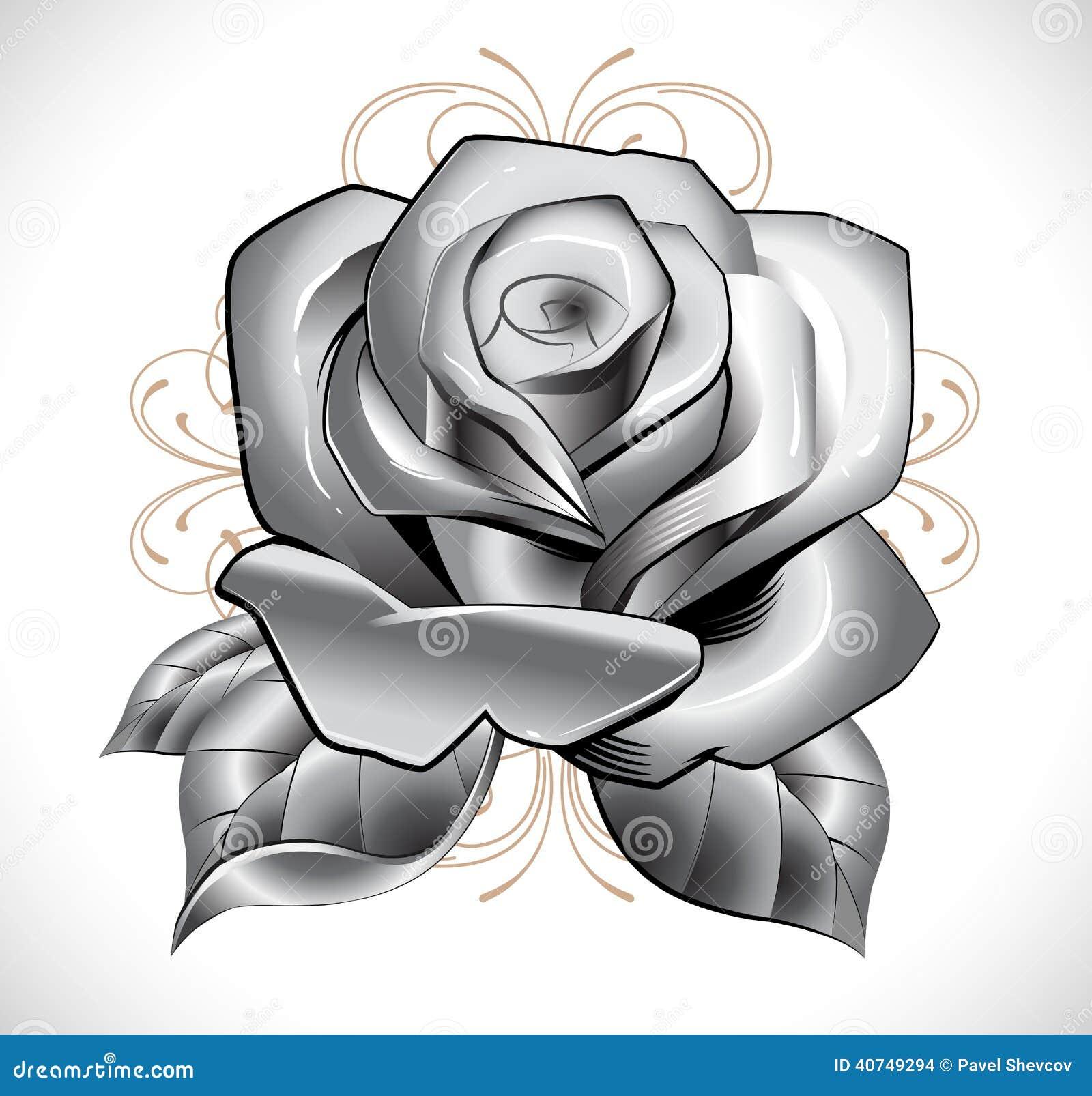 Tatuagem Rosa Ilustracao Do Vetor Ilustracao De Felicitacoes