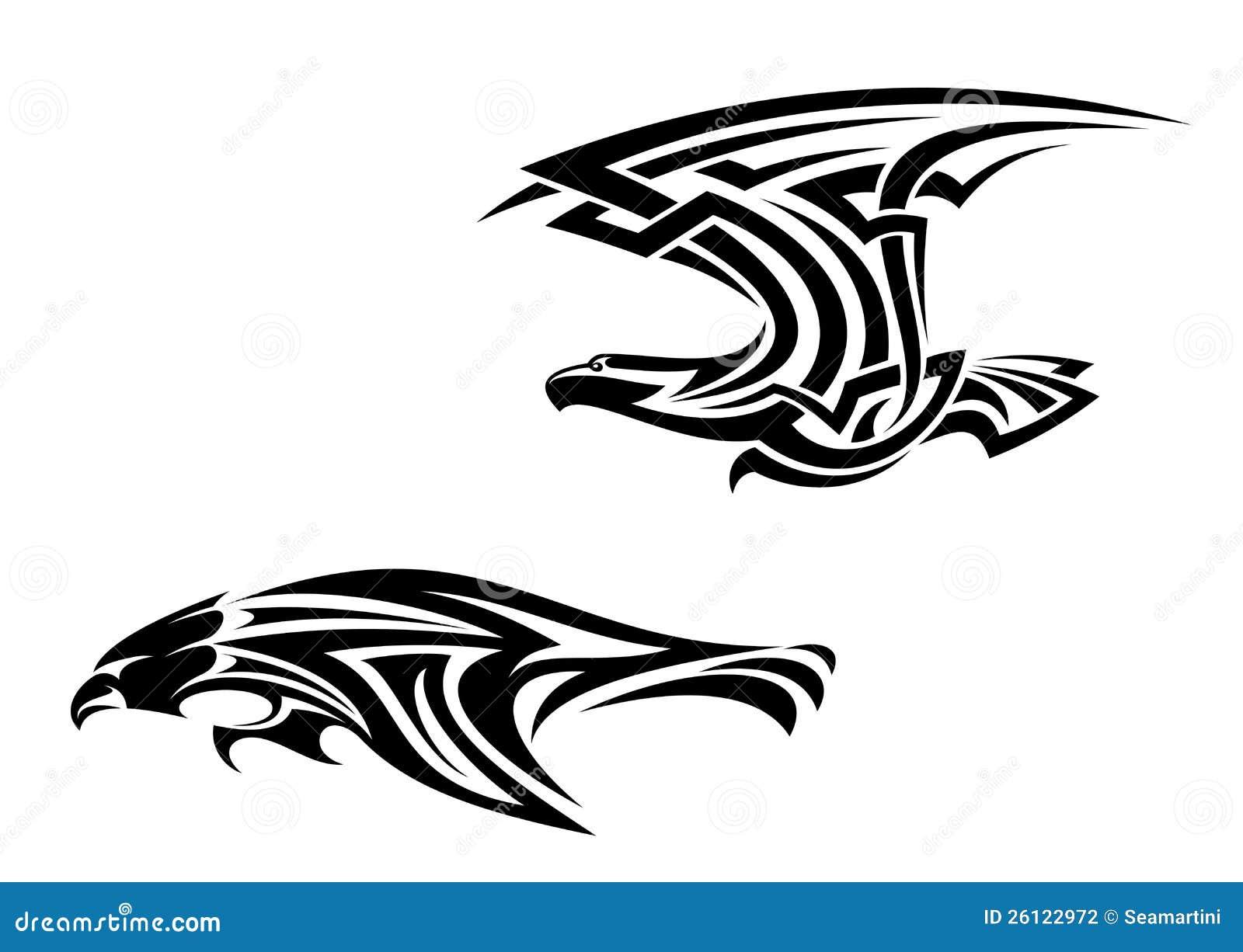 tatuagens e mascote tribais dos pássaros ilustração do vetor
