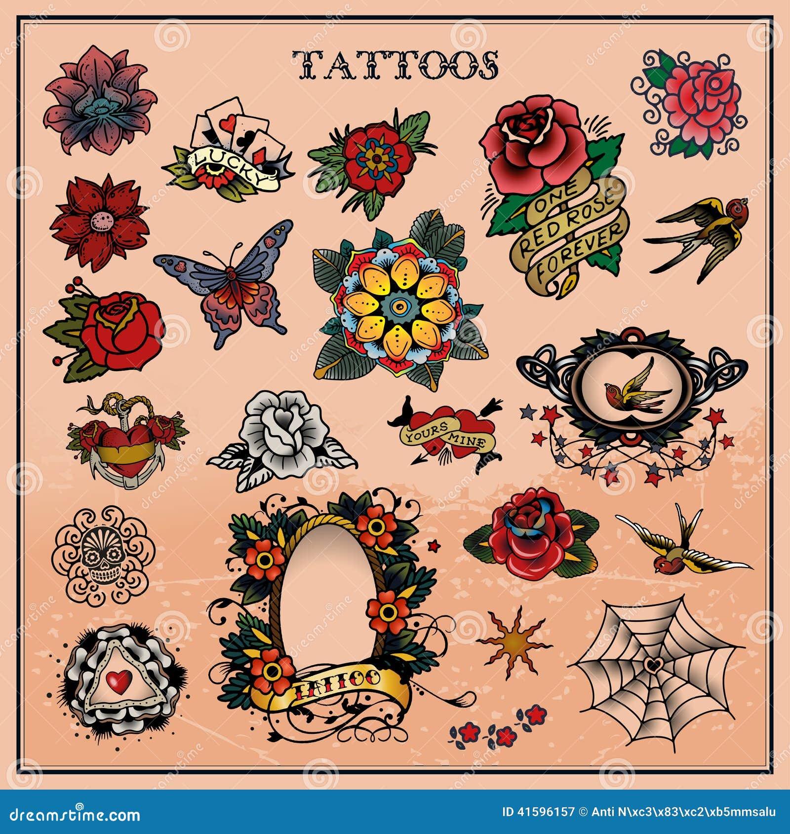 Tatuagens Florais Flor Ilustração Do Vetor Ilustração De