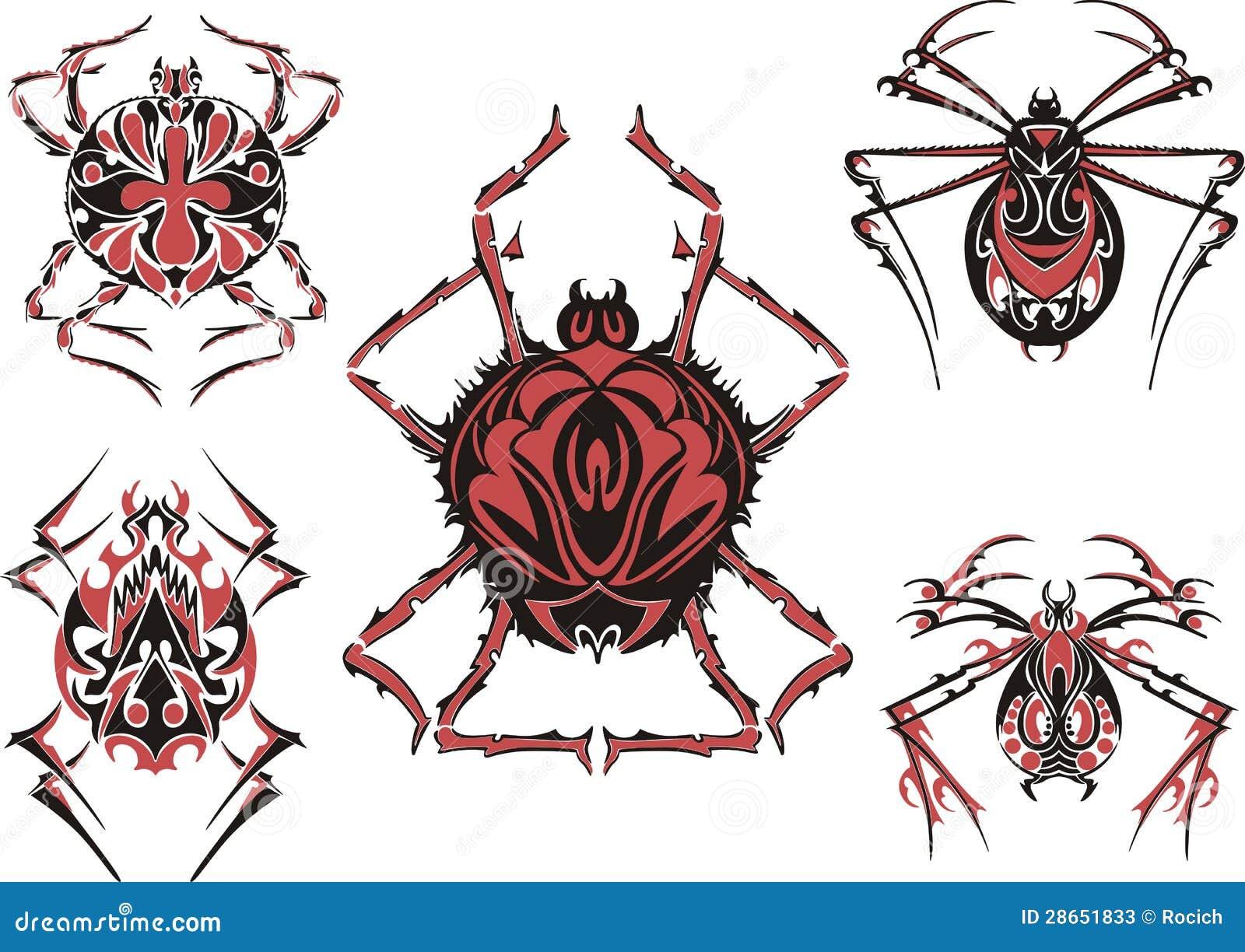 Tatuagens simétricos pretos e vermelhos da aranha