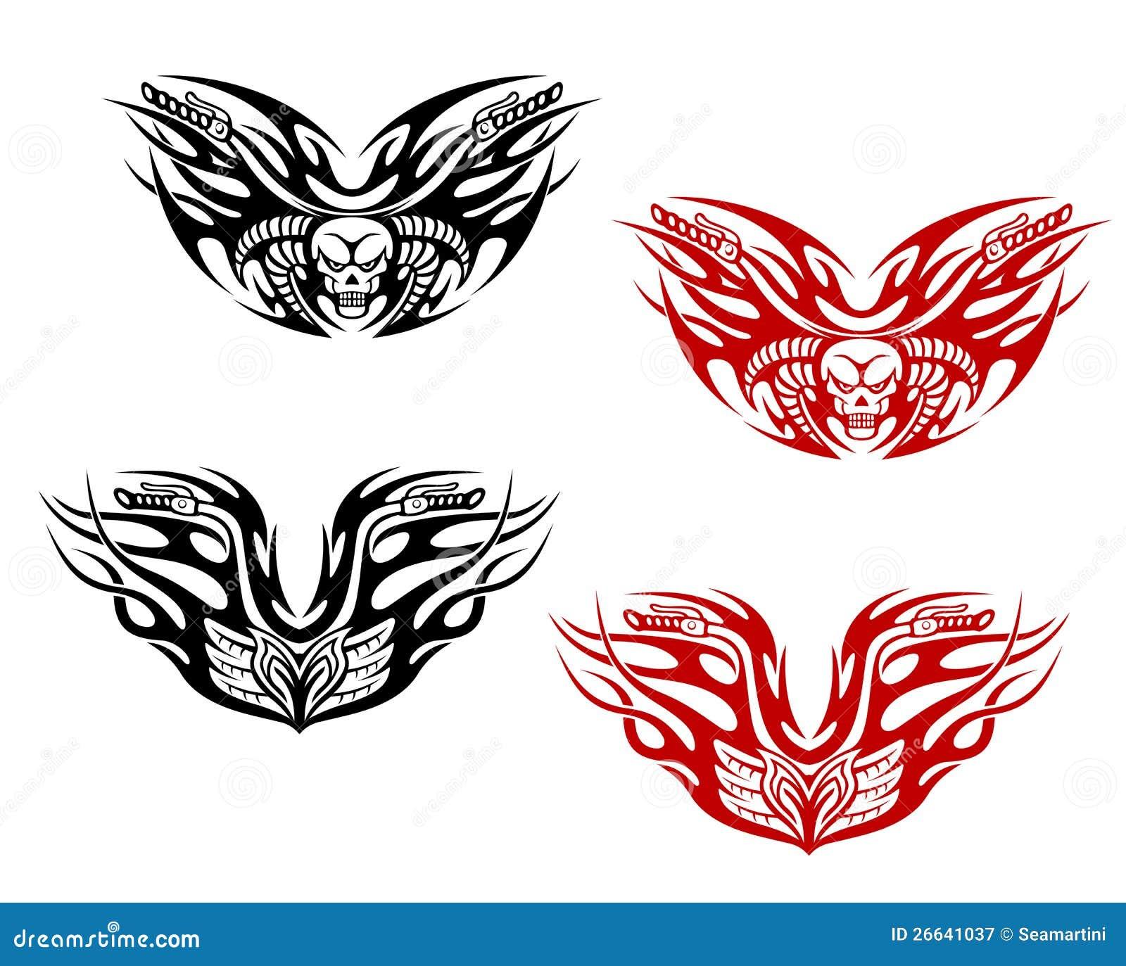 Tatuaggi Dei Motociclisti Con Le Fiamme Illustrazione Vettoriale  26641037