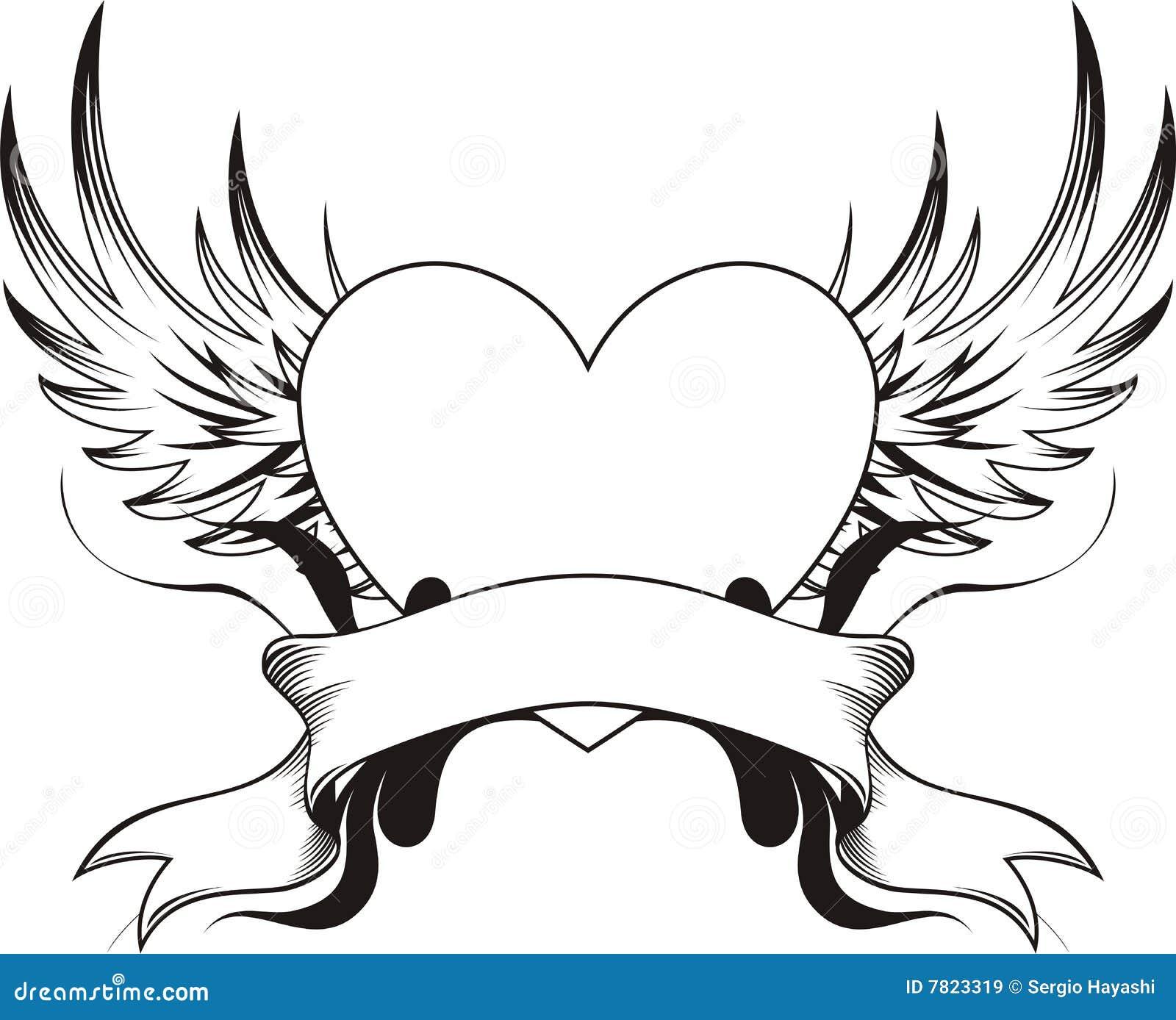 Top Tatuaggio del cuore illustrazione vettoriale. Immagine di alato  EF04