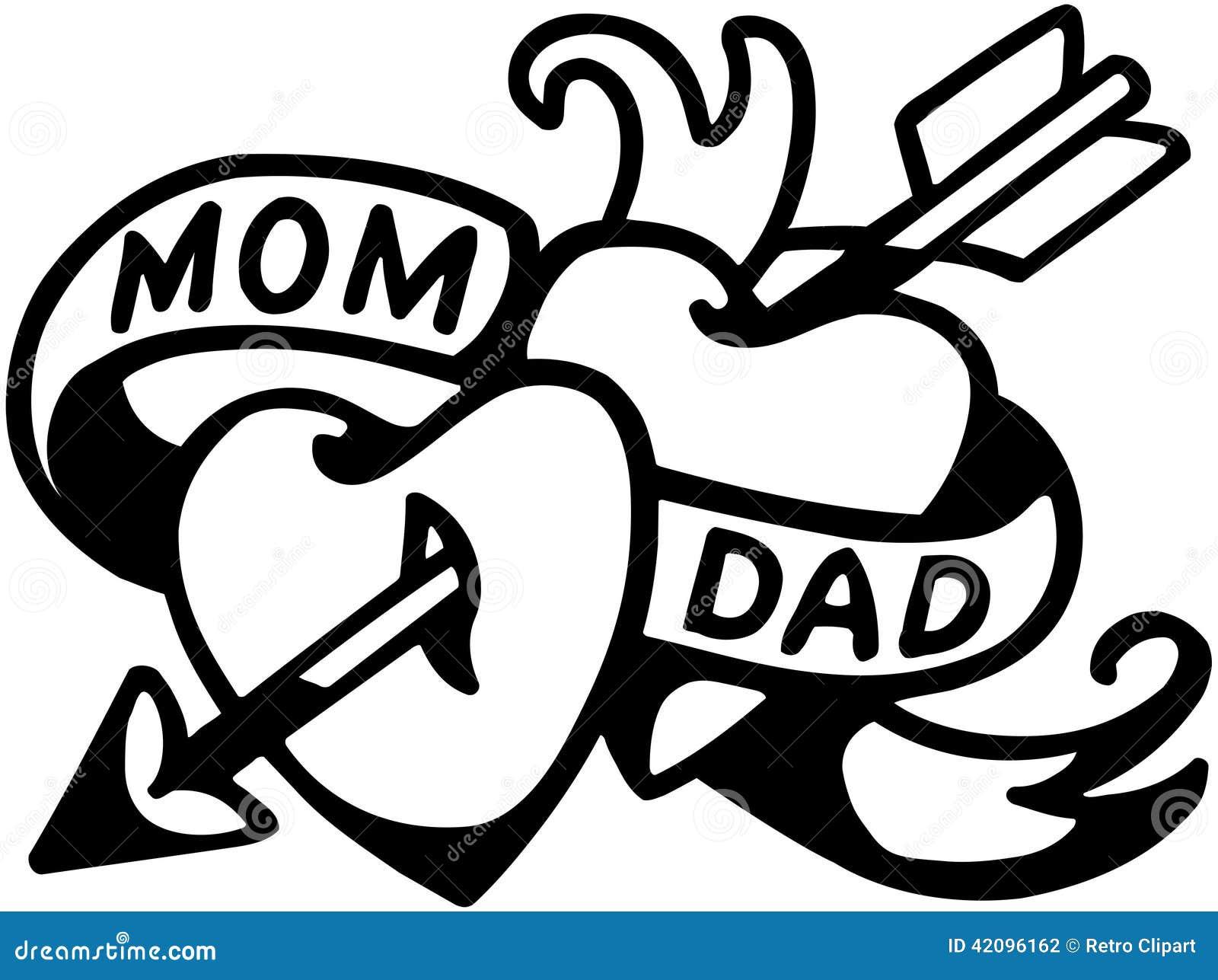 Tatuaggio Del Papà E Della Mamma Illustrazione Vettoriale