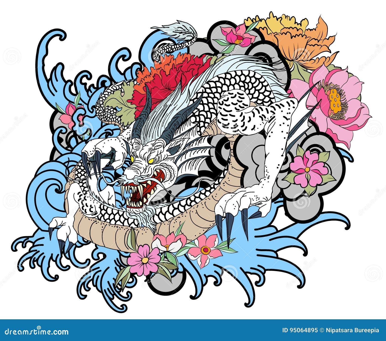 tatuaggio disegnato a mano del drago stile giapponese del. Black Bedroom Furniture Sets. Home Design Ideas