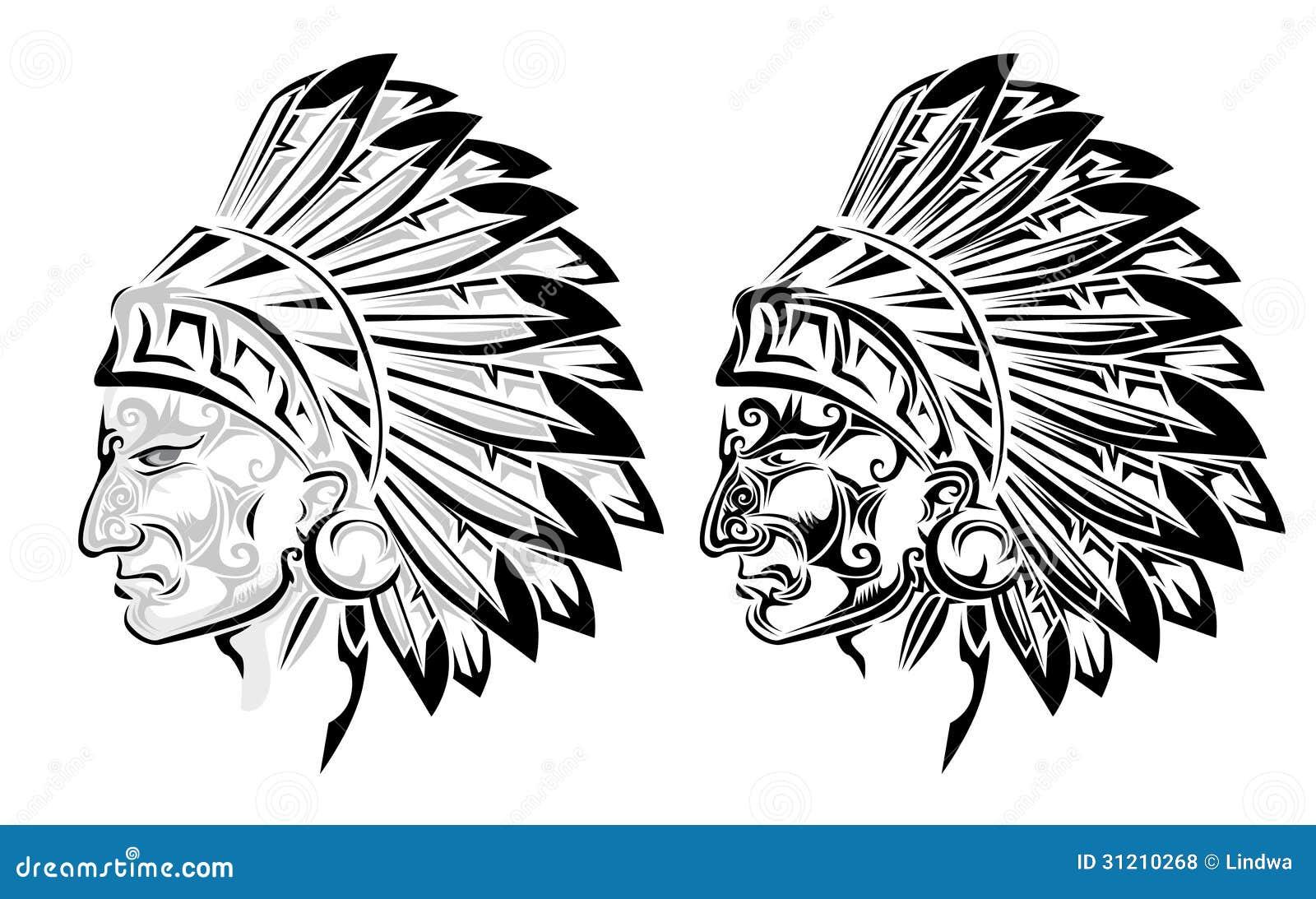 Vector Del Jefe Indio Del Nativo Americano Ilustración del Vector ...
