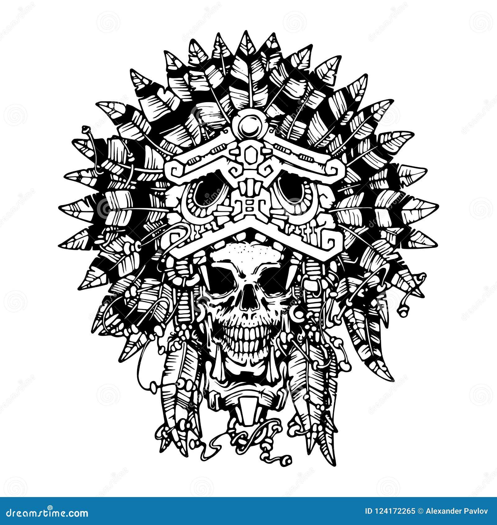 Tatuaje Azteca Del Guerrero El Cráneo En La Máscara De Jaguar