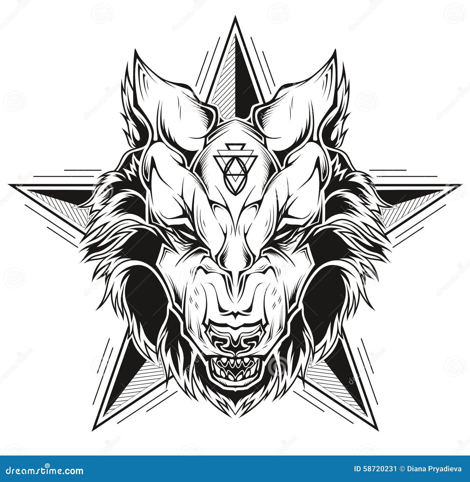 Tatuaje Blanco Y Negro De Una Cabeza Del Lobo Con La Estrella
