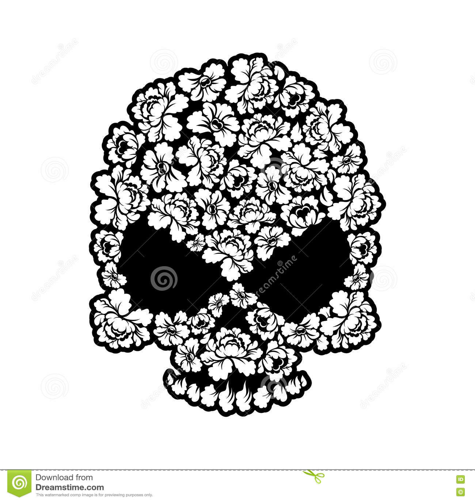 Tatuaje Color De Rosa Del Cráneo Esqueleto De La Cabeza De Flor ...