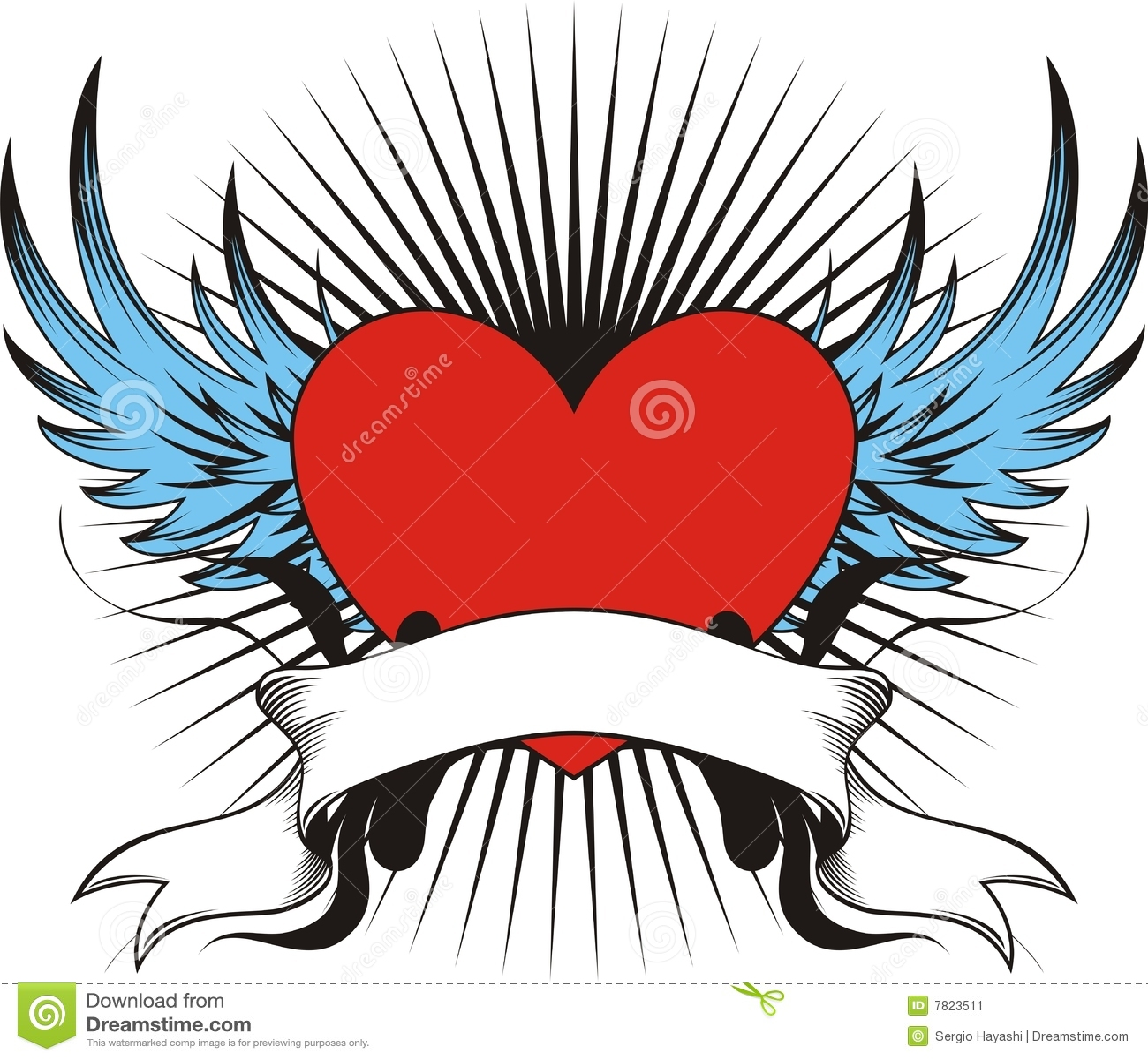 Tatuaje Con Alas Del Amor Ilustración Del Vector Ilustración De
