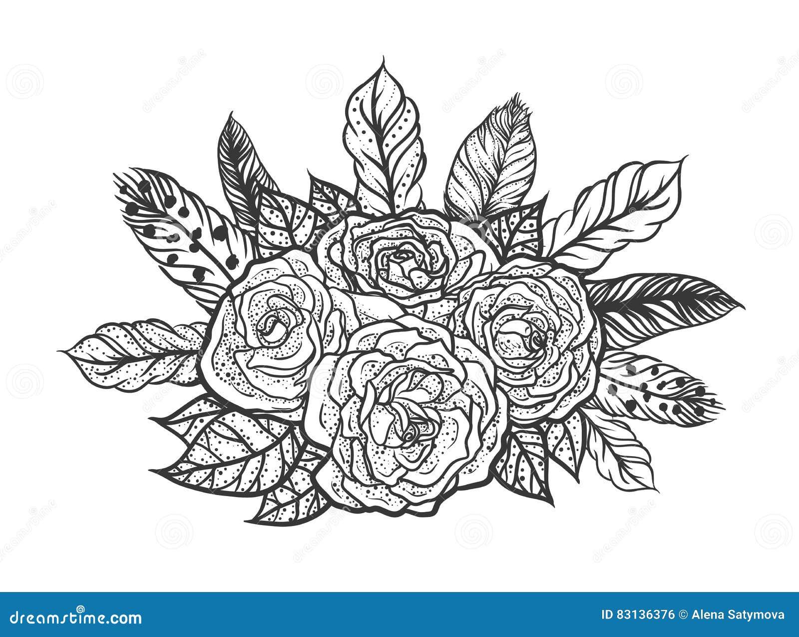 Tatuaje De Blackwork Del Ramo Color De Rosa Y De Las Plumas Gráficos