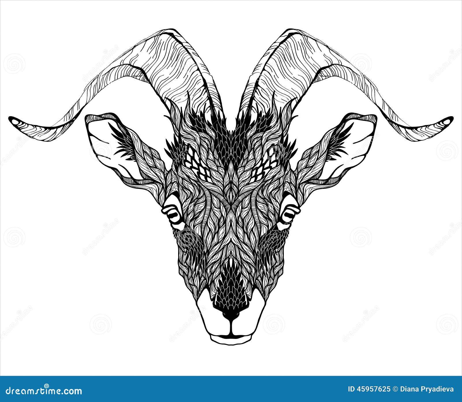 Tatuaje de la cabeza de la mascota de la cabra psychedelic