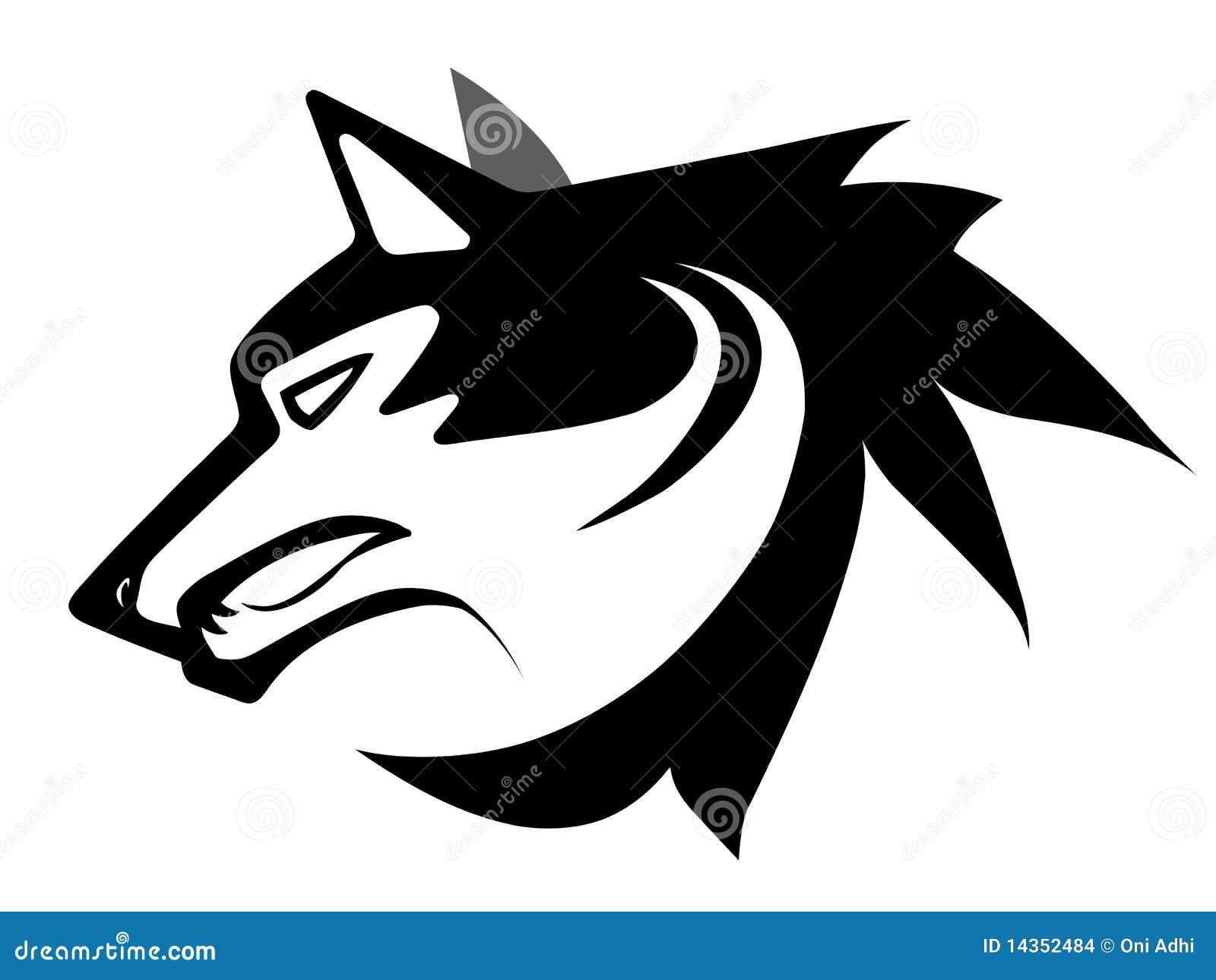 Silueta Lobo: Tatuaje De La Cara Del Lobo Stock De Ilustración