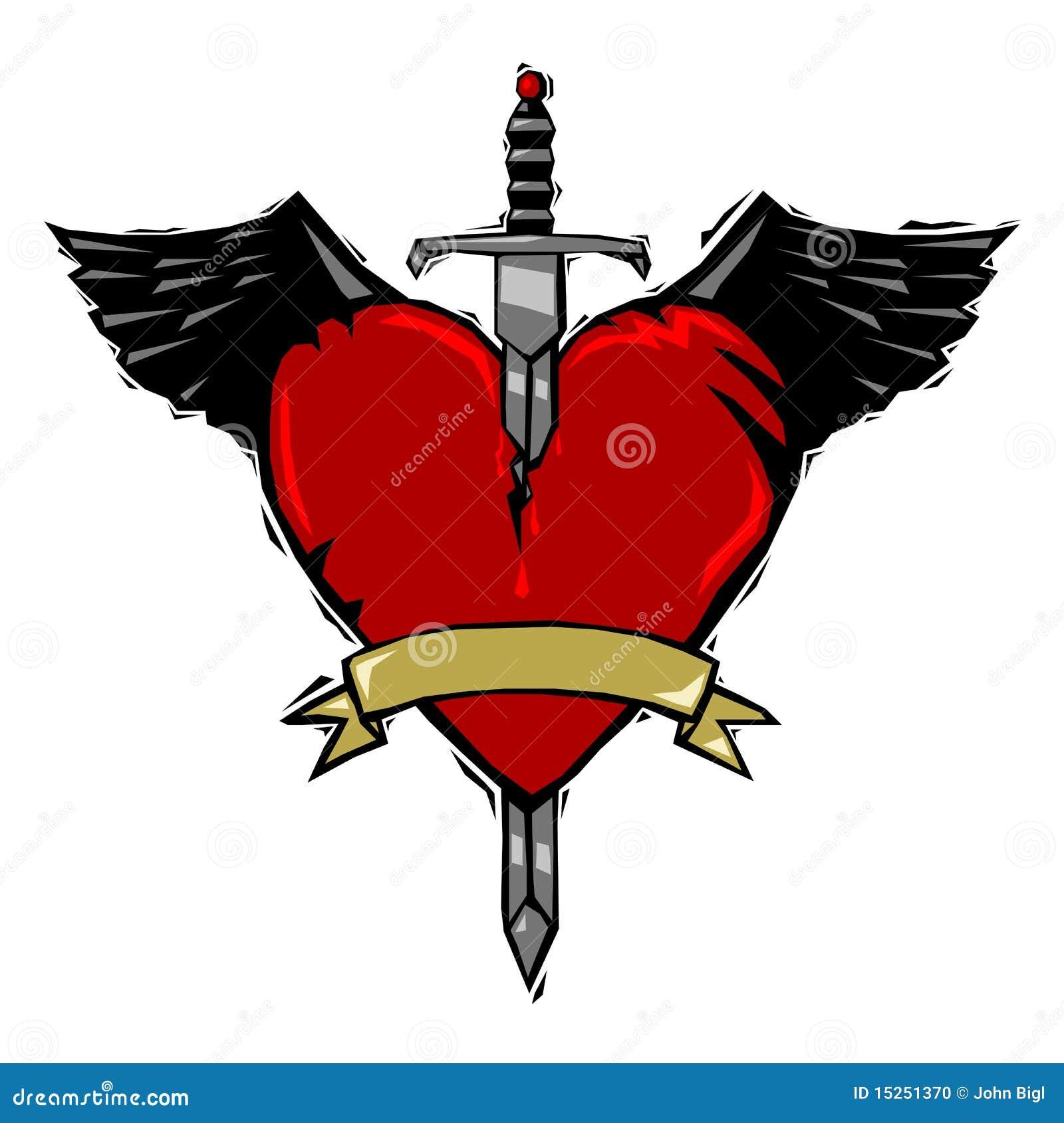 Tatuaje De La Espada Y Del Corazón Ilustración Del Vector