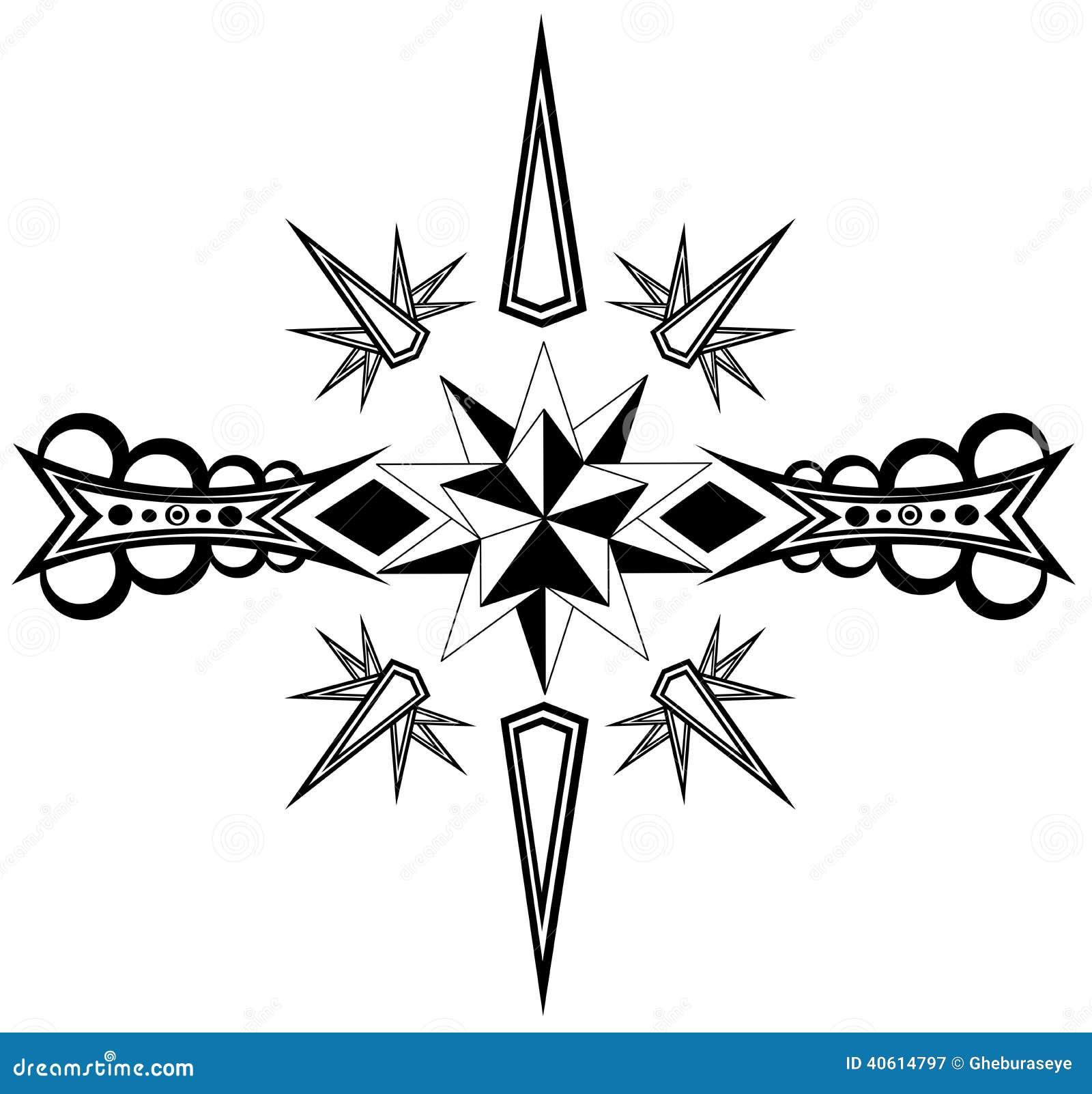 Tatuaje De La Estrella En Blanco Y Negro Ilustración Del Vector