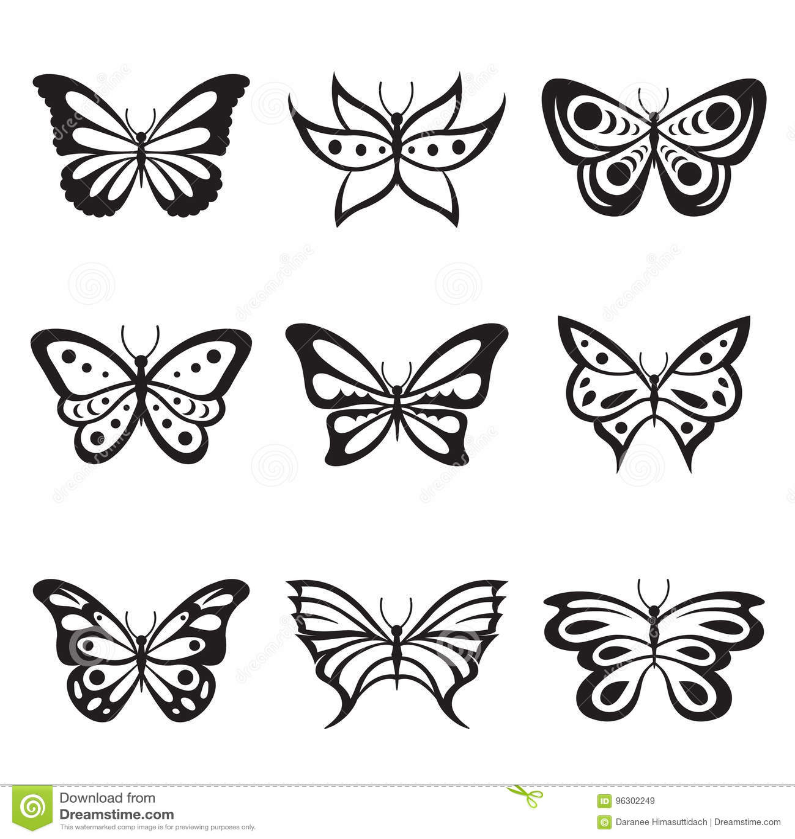 Tatuaje De La Mariposa Del Insecto Y Vector Animales Negros Del - Mariposas-tatuaje