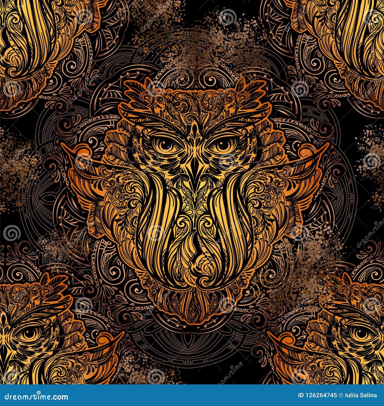 Buho Tatuaje Mandala tatuaje del búho del vector ilustración del vector