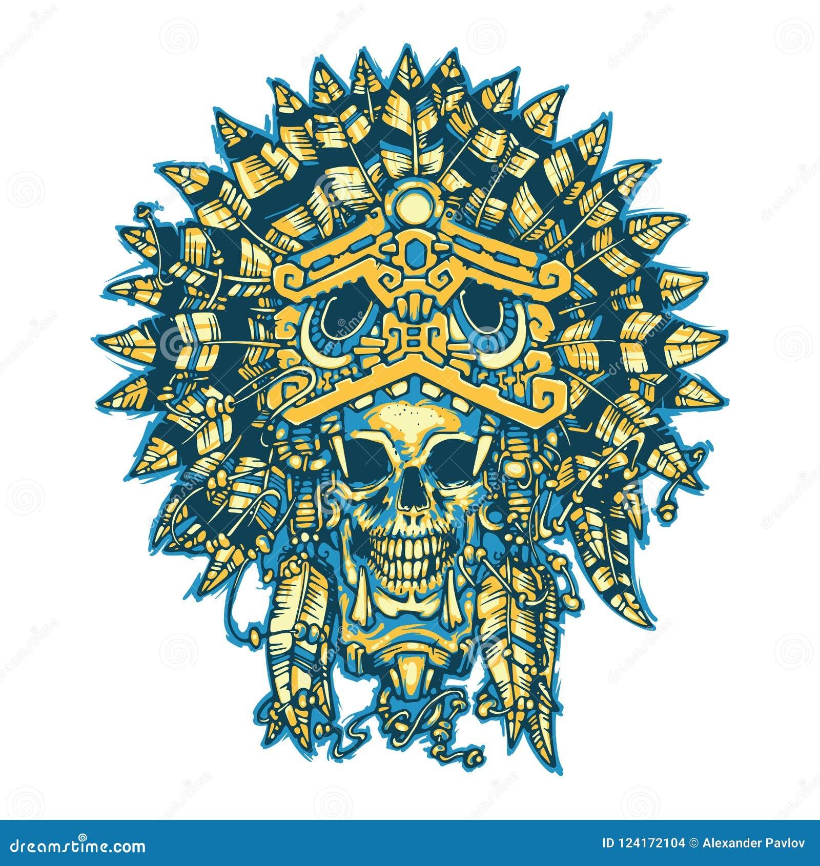 Tatuaje Del Guerrero Cráneo Del Guerrero Azteca En La Máscara De