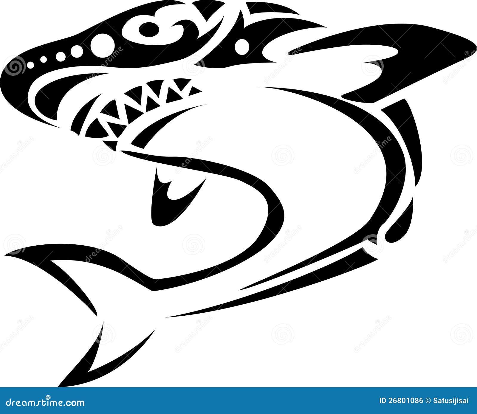 Tatuaje del tiburón stock de ilustración. Ilustración de negro ...