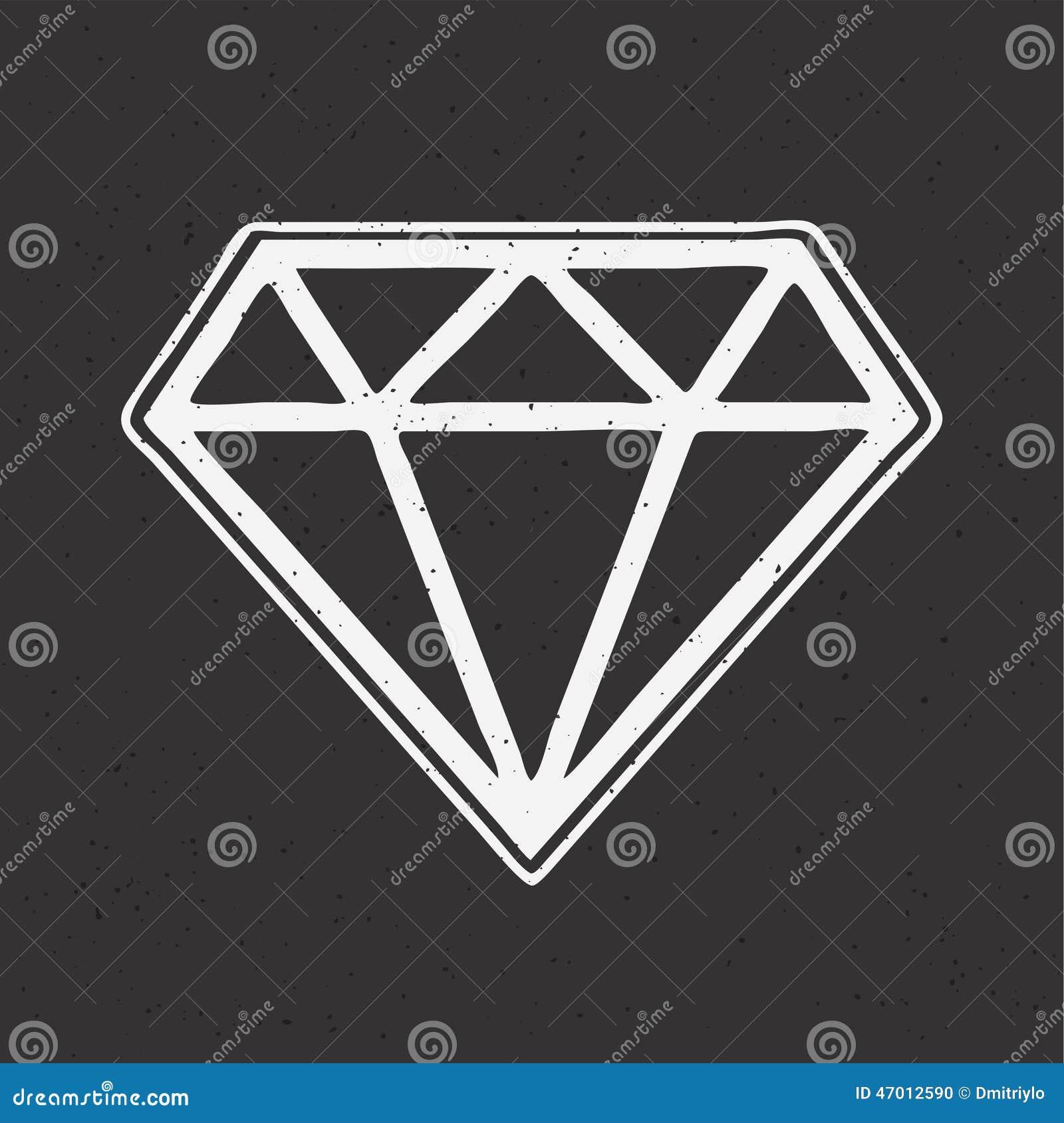 Tatuaje Dibujado Mano De La Escuela Vieja Del Diamante Ilustración