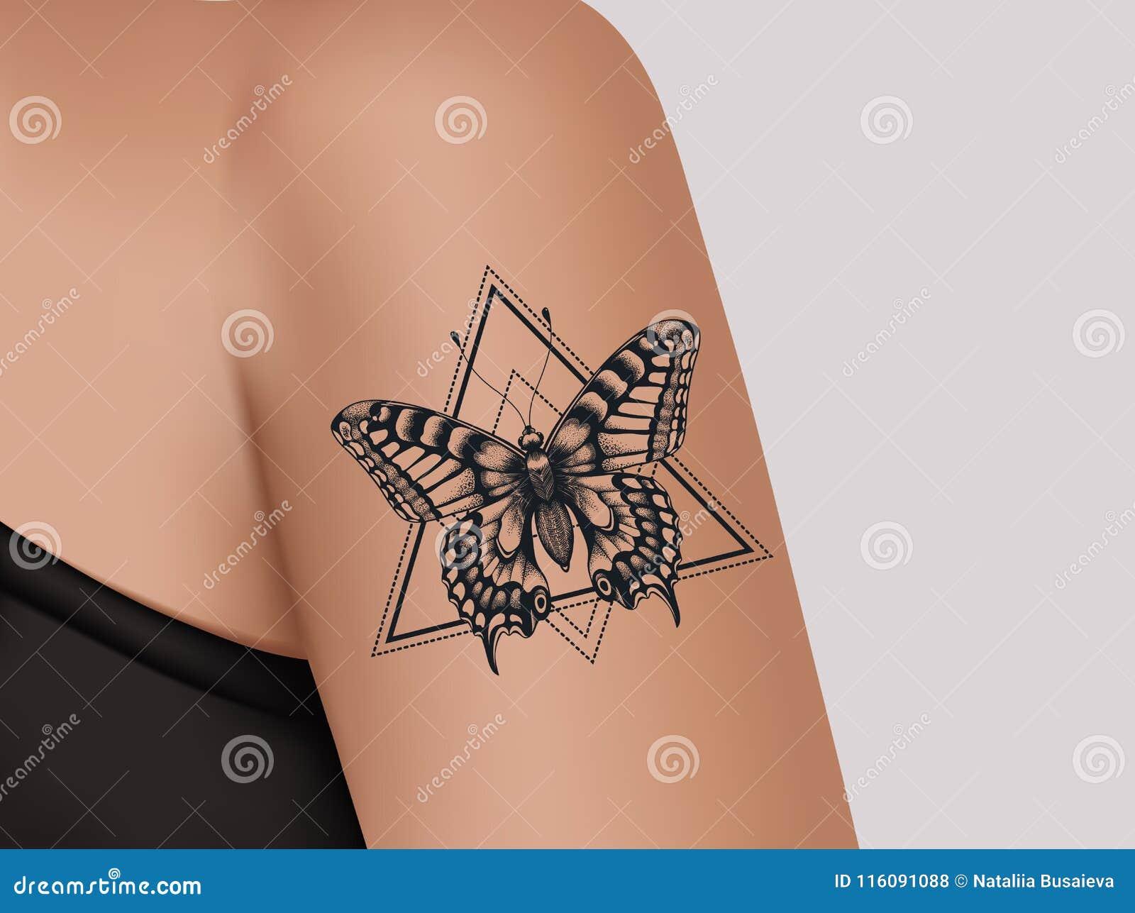 Tatuaje En Hombro Femenino Tatuaje Mistico De La Mariposa Plantilla