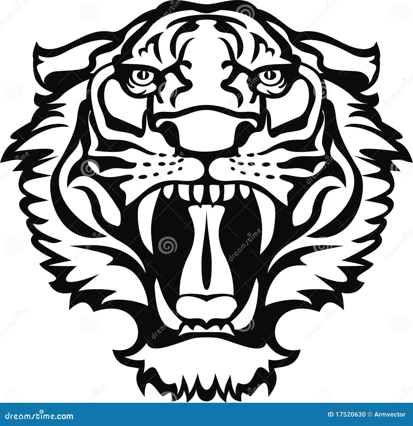 Tatuaje Negroblanco Del Tigre Ilustración Del Vector Ilustración