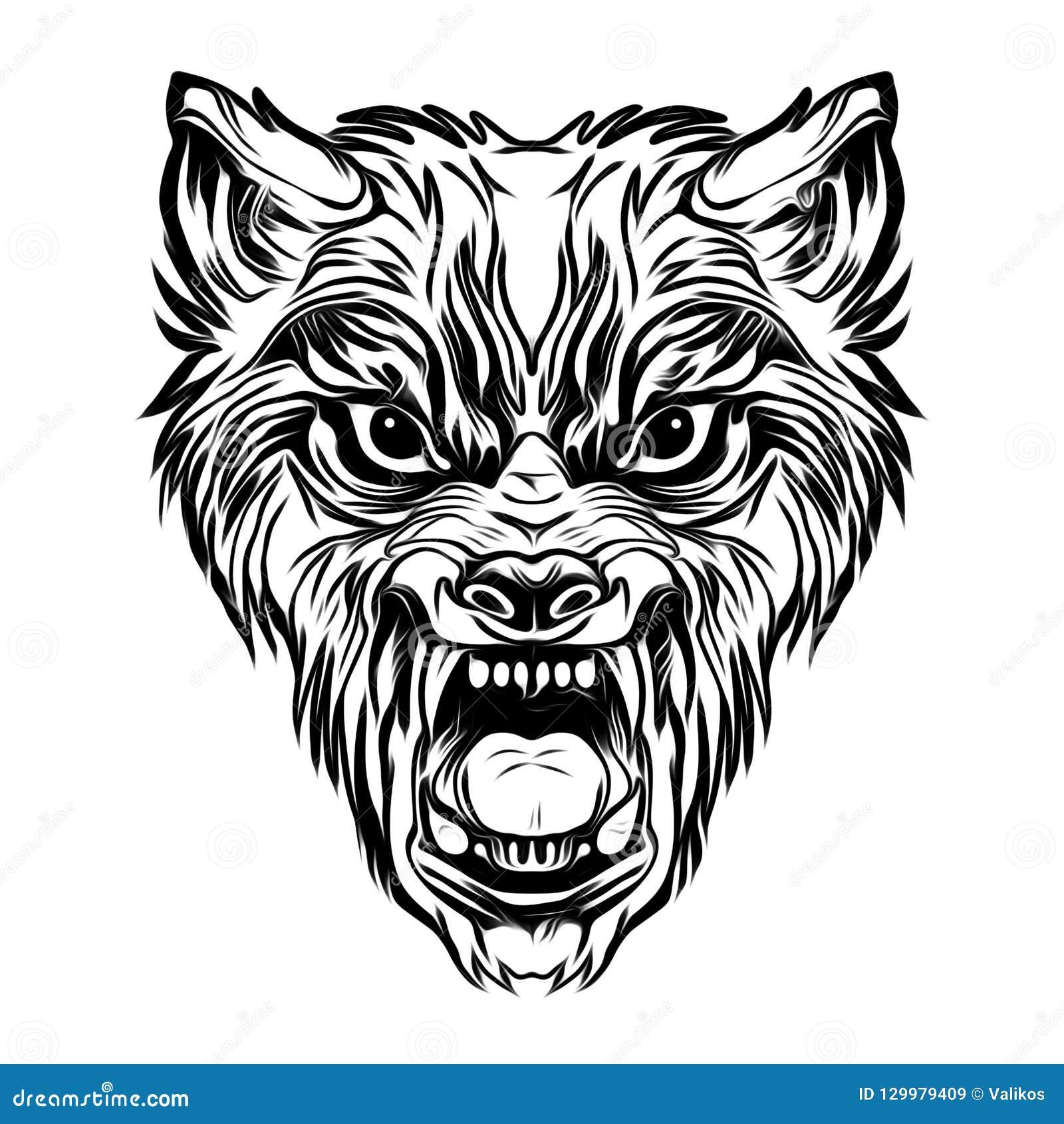 Tatuaje Salvaje De La Cara Del Lobo Stock De Ilustración