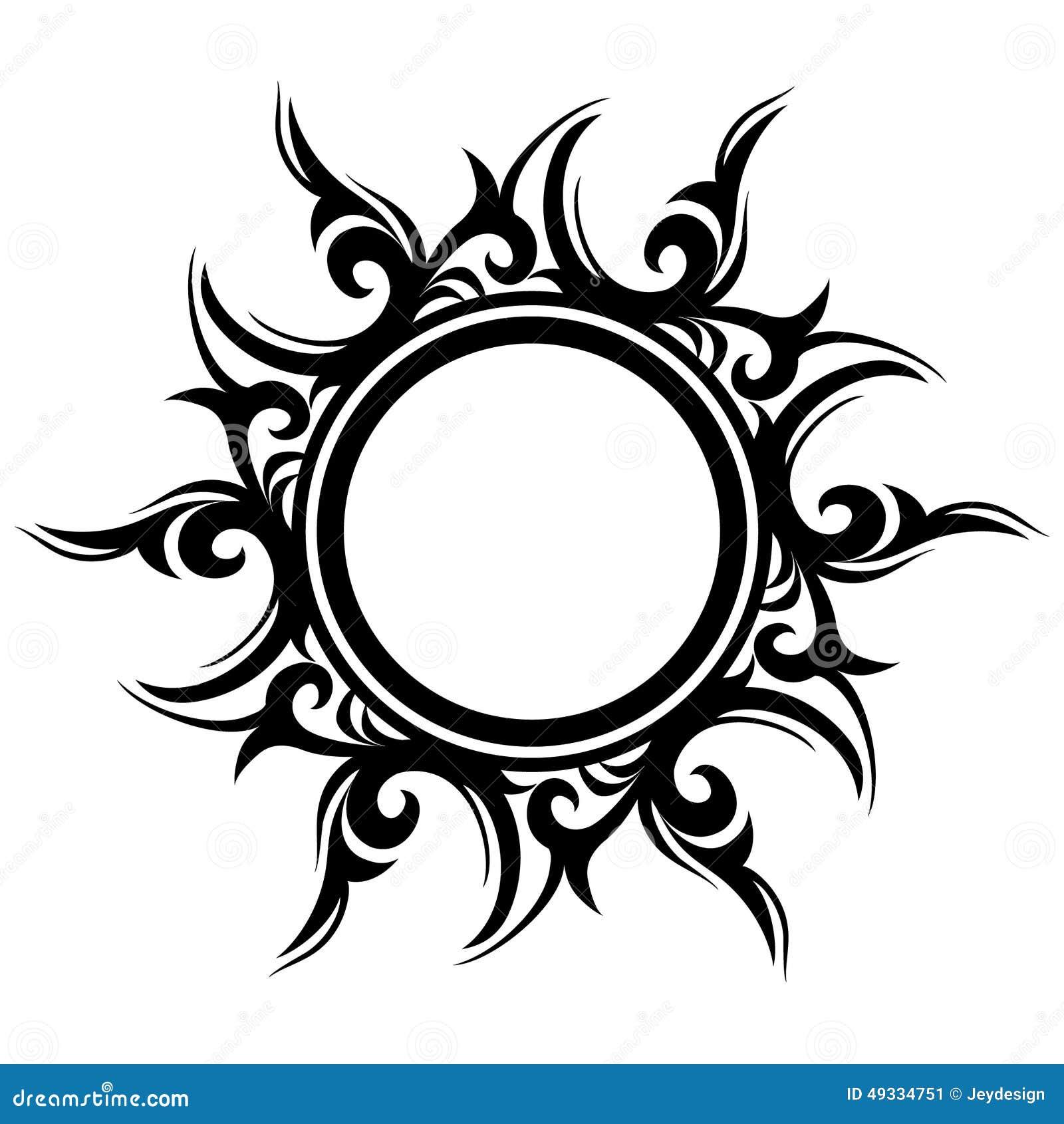 Tatuaje Sol Abstracto Flor Ilustración Del Vector Ilustración De