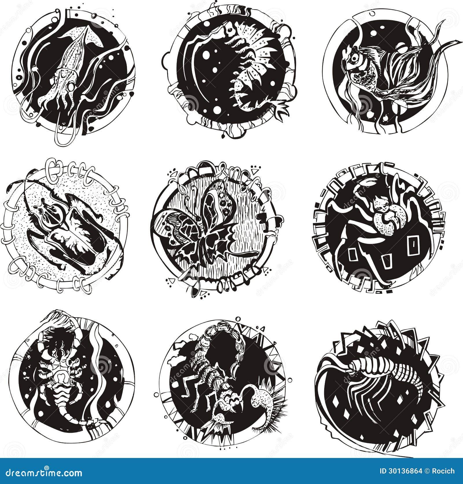 Tatuajes Redondos Con Los Animales Ilustración Del Vector