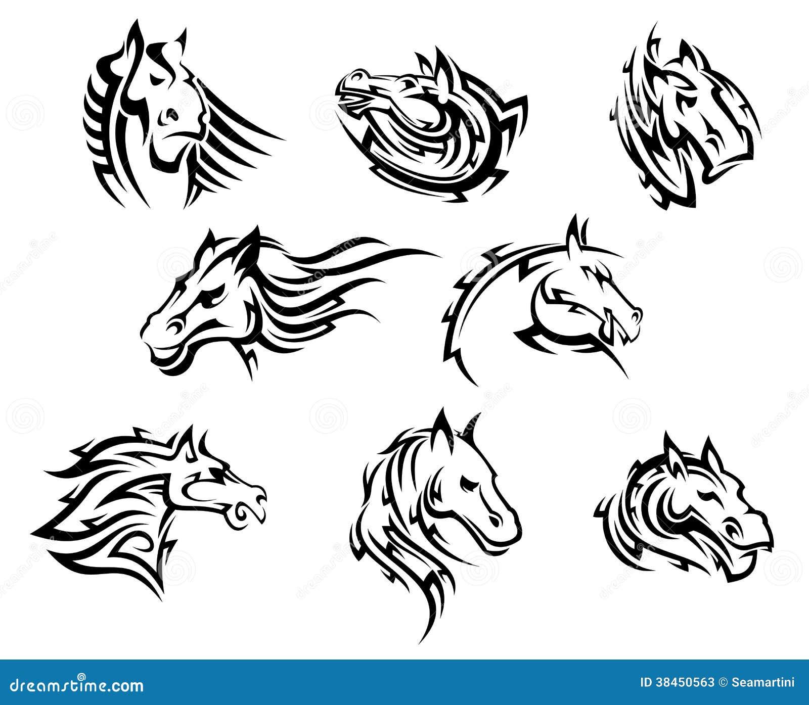 Cabezas De Dragones Para Tatuar tatuajes tribales de la cabeza de caballo ilustración del
