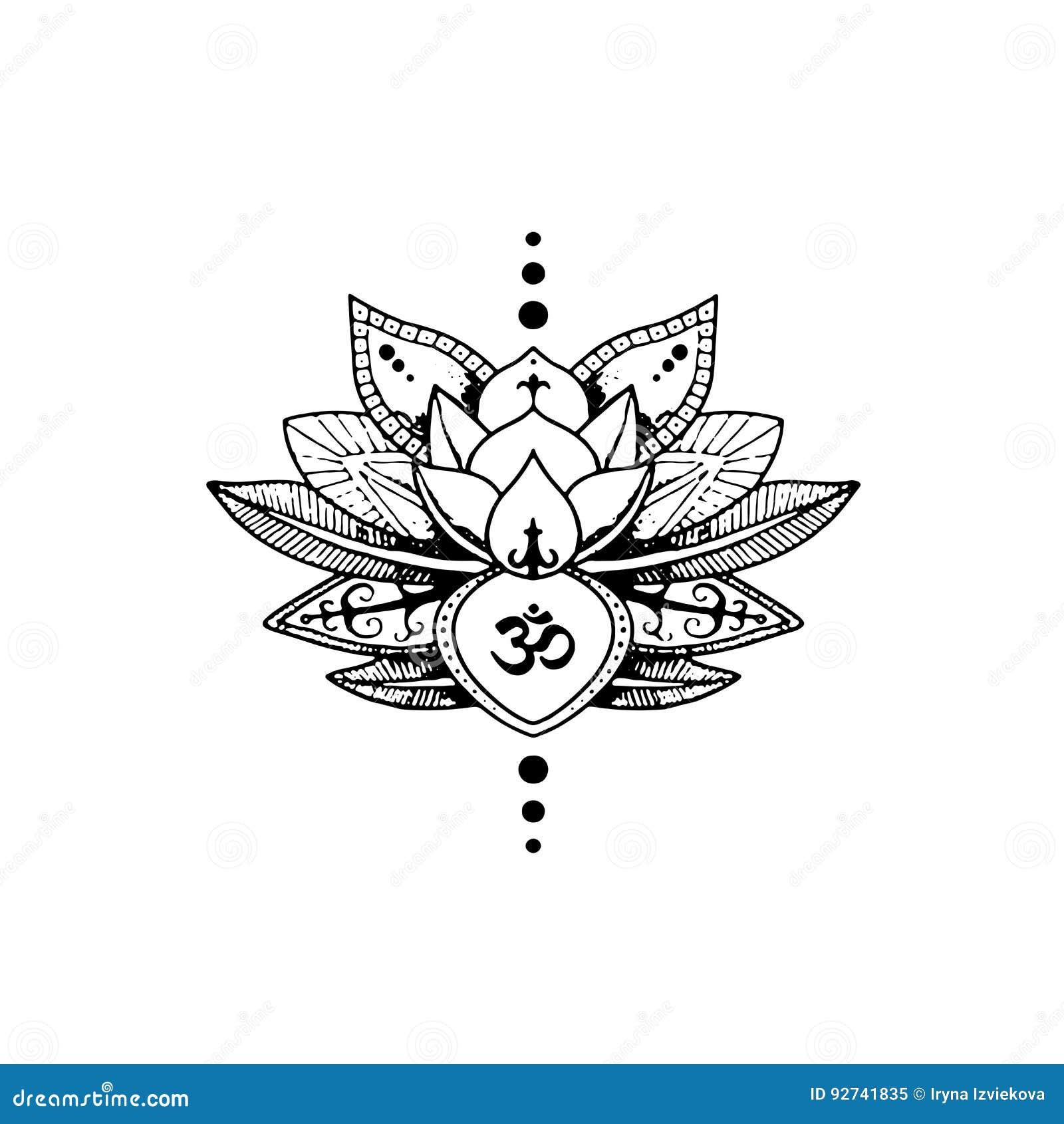tatuering lotus och tecken aum buddism vektor illustrationer bild 92741835. Black Bedroom Furniture Sets. Home Design Ideas