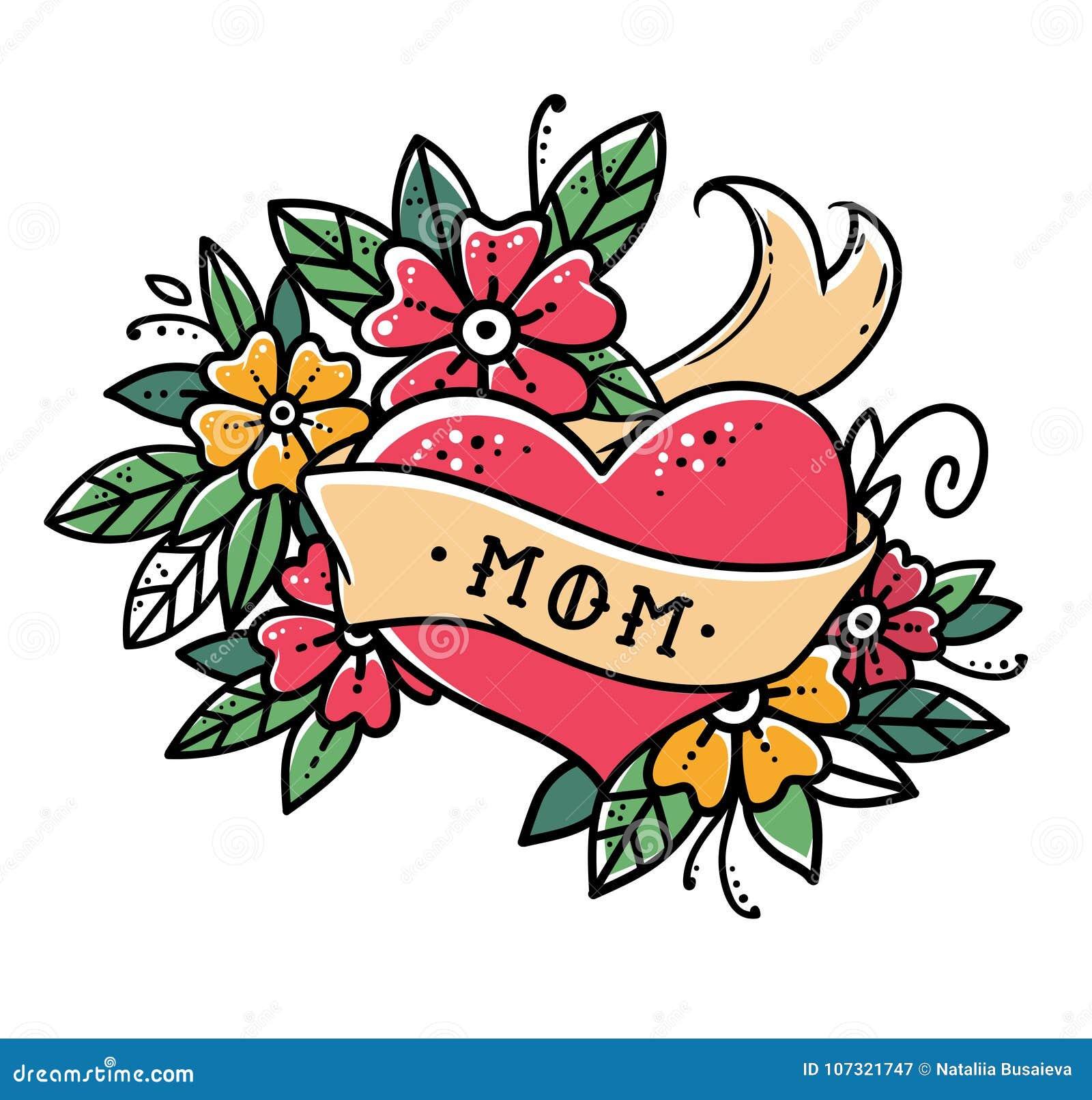 Tatuuje serce z faborkiem, kwiatami i słowa mama starej szkoły retro wektorową ilustracją, Retro tatuaż