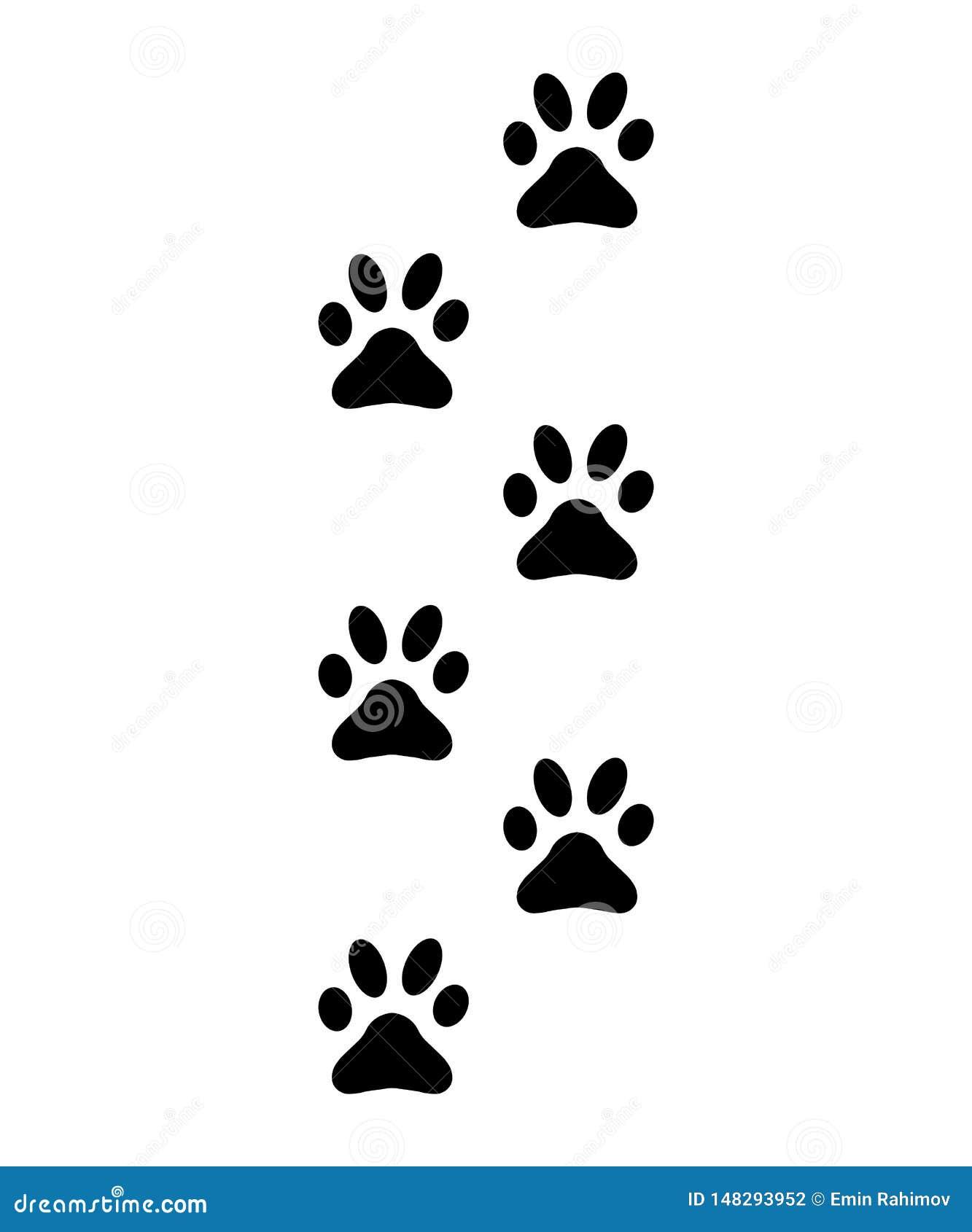 Tatzen, Abdrücke, Schattenbildspuren der Katze, Hundezeichen