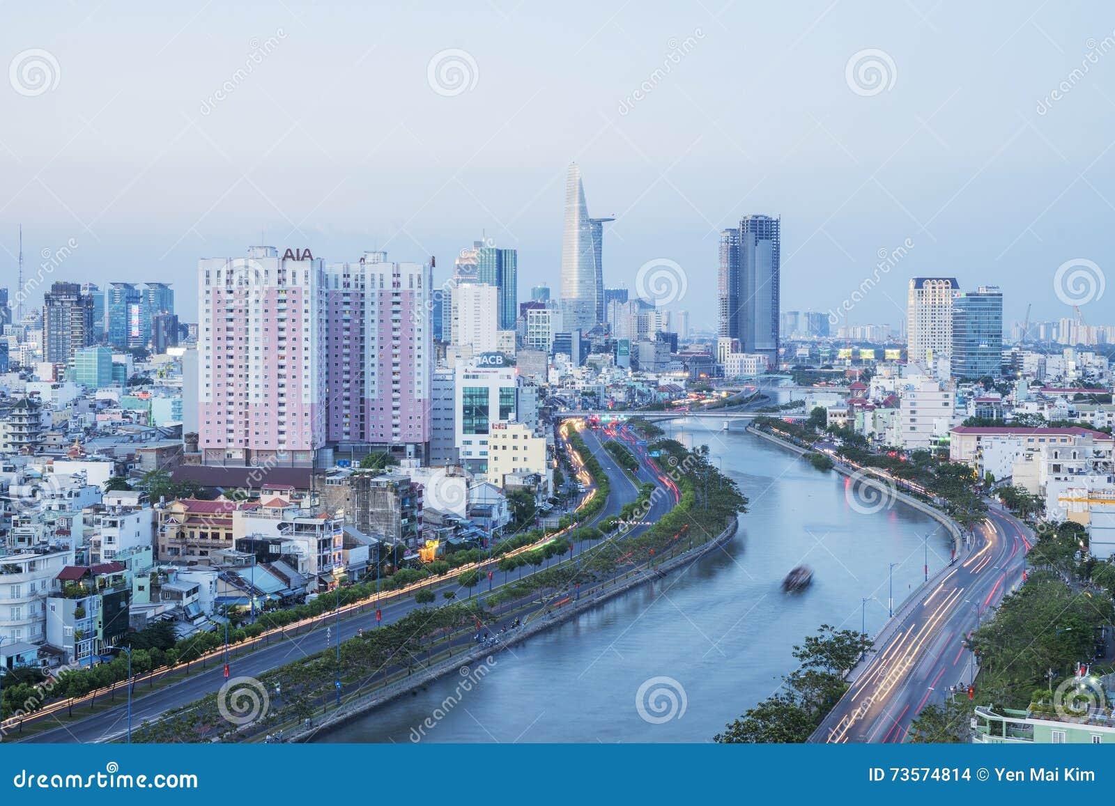 Tau Hu Canal von der hohen Ansicht in Ho Chi Minh-Stadt, Vietnam